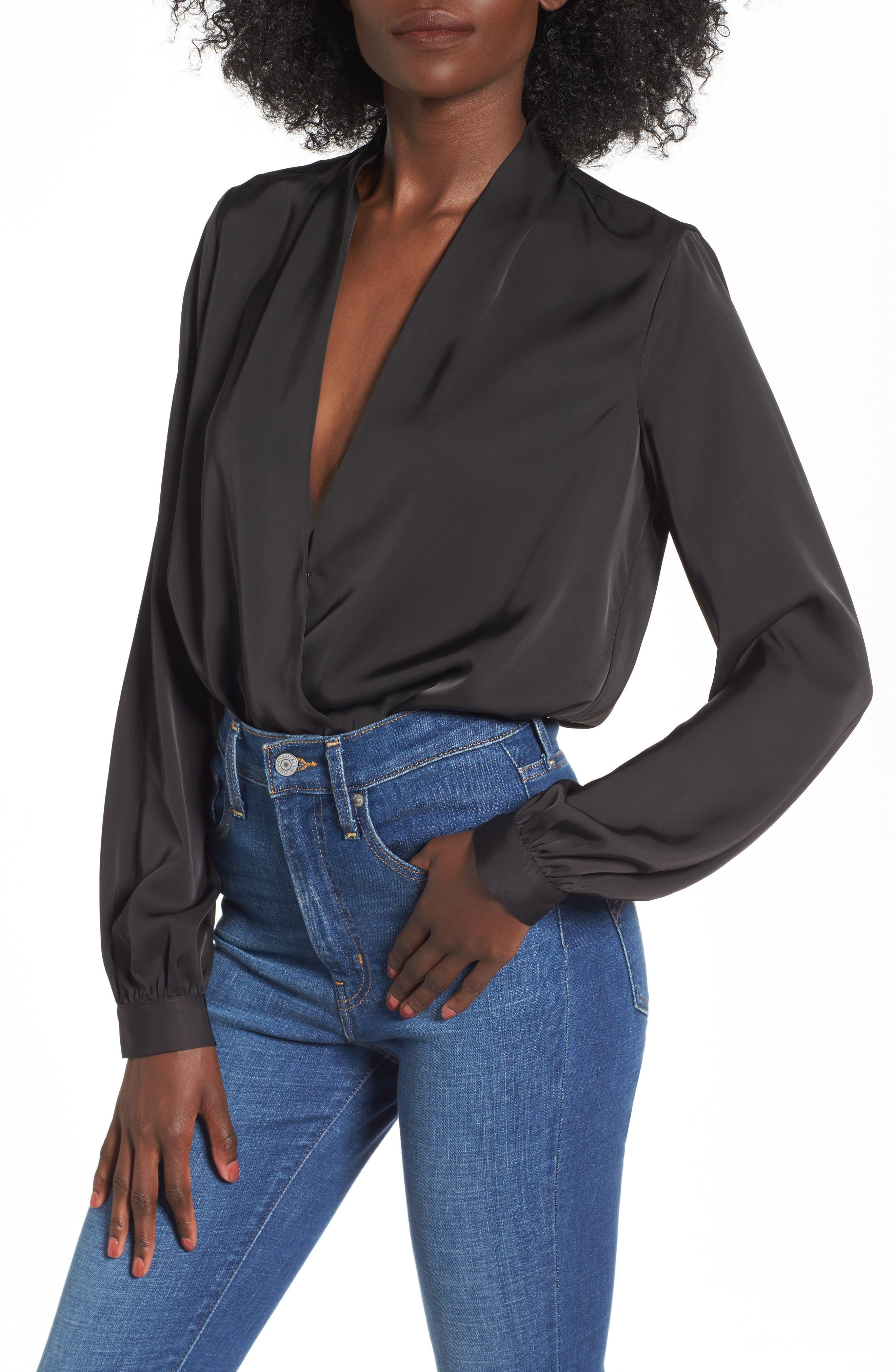 L'Academie The Long Sleeve Bodysuit,                             Main thumbnail 1, color,                             Black