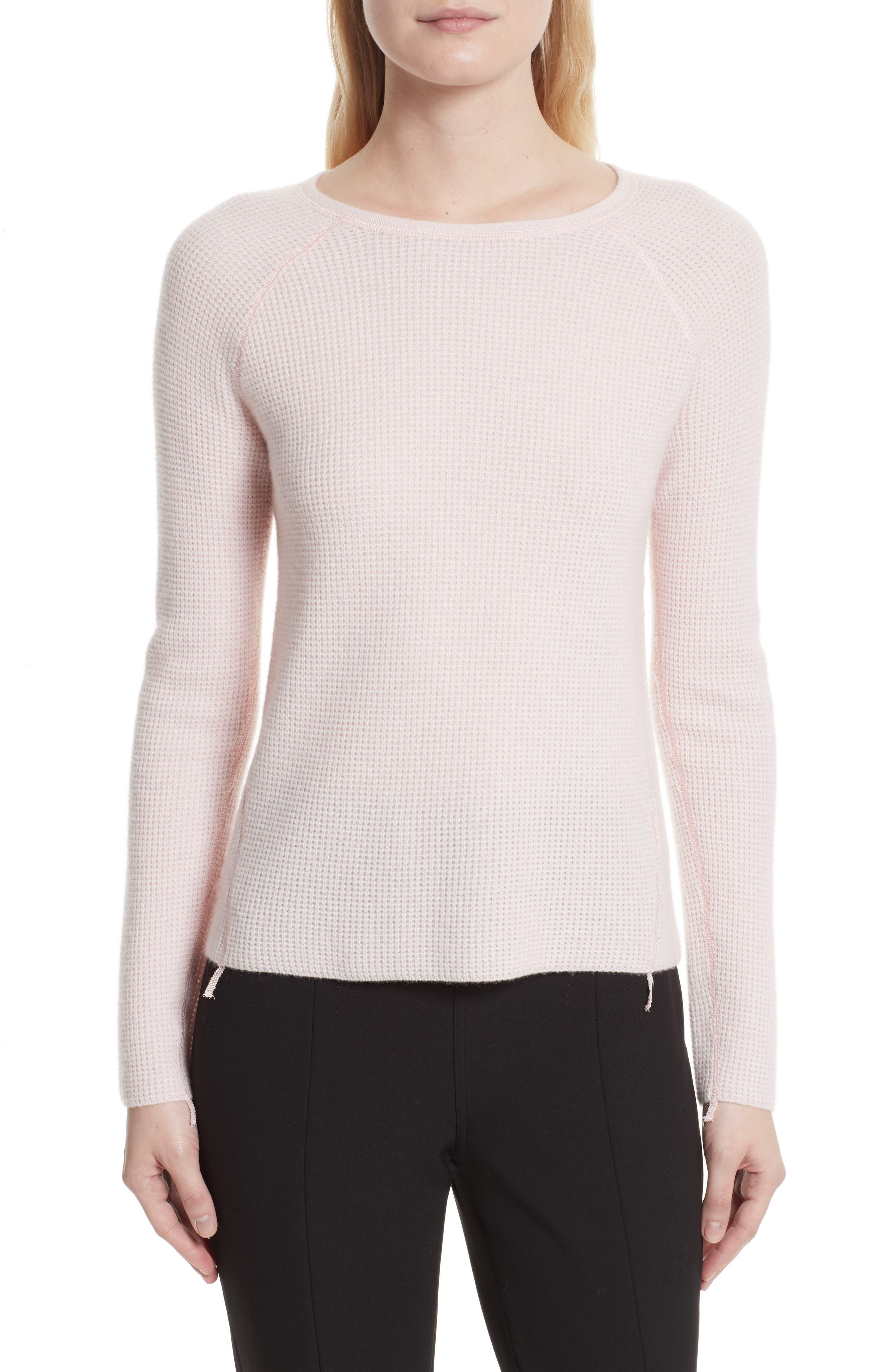 Karina Waffle Knit Cashmere Sweater,                         Main,                         color, Ballet