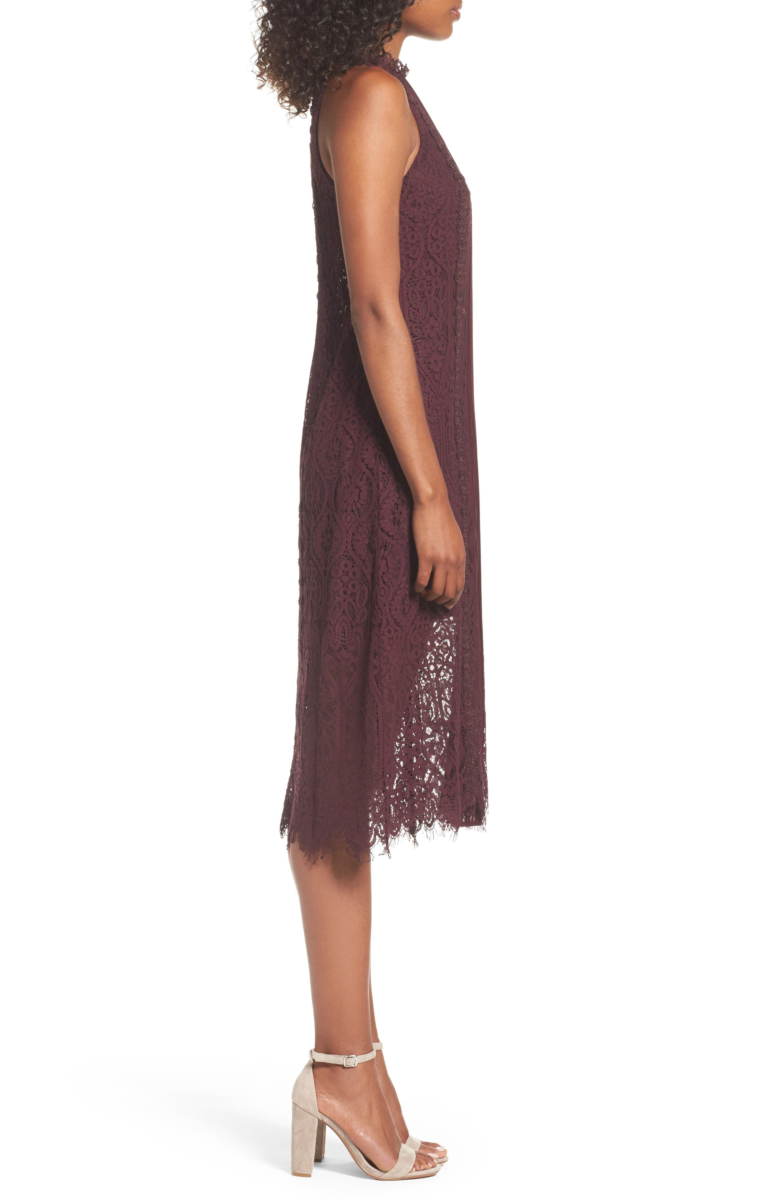 Alternate Image 4  - Chelsea28 Lace Pleated Midi Dress