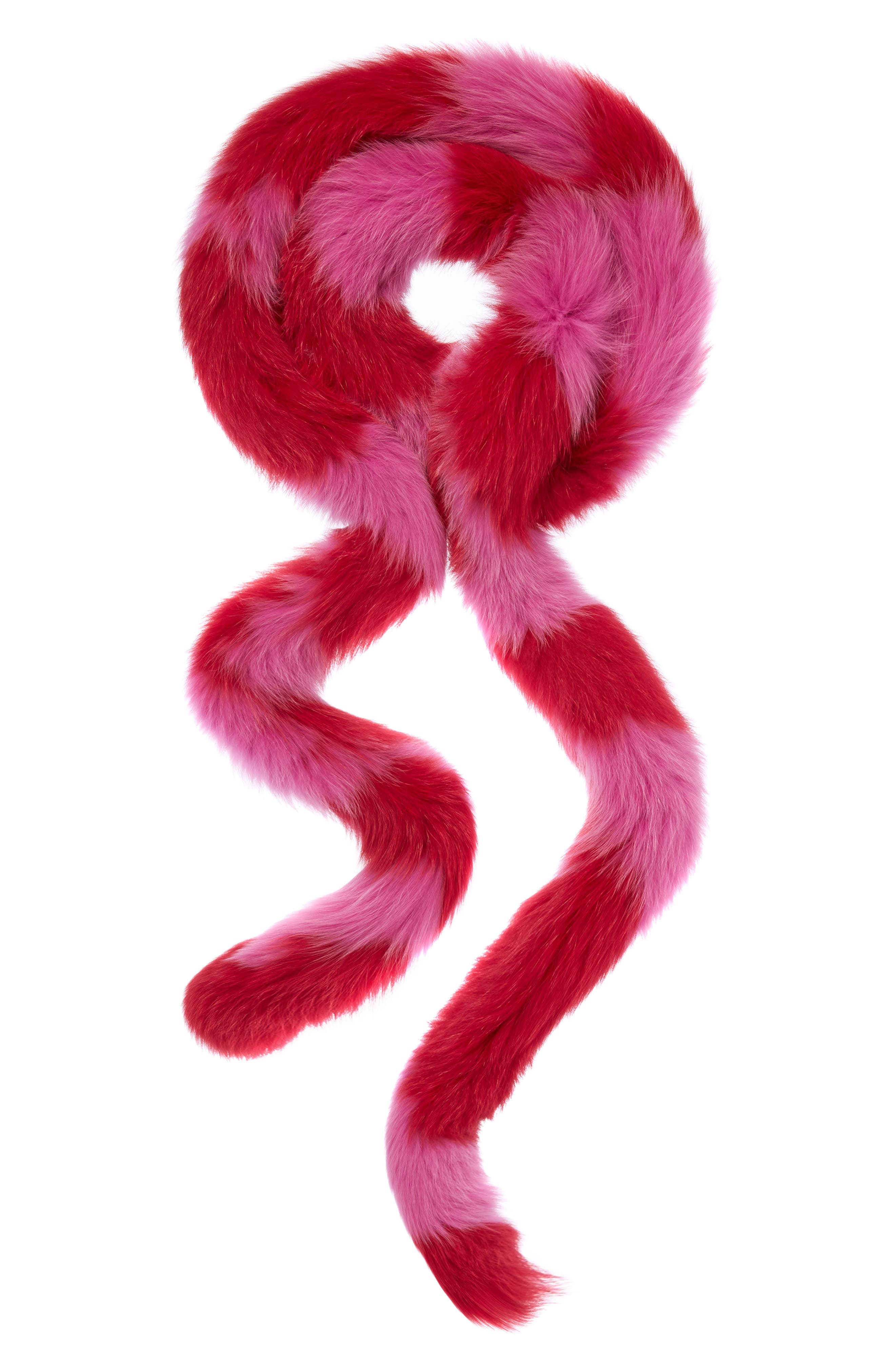 Lacey Genuine Fox Fur Skinny Scarf,                             Main thumbnail 1, color,                             Red/Hot Pink