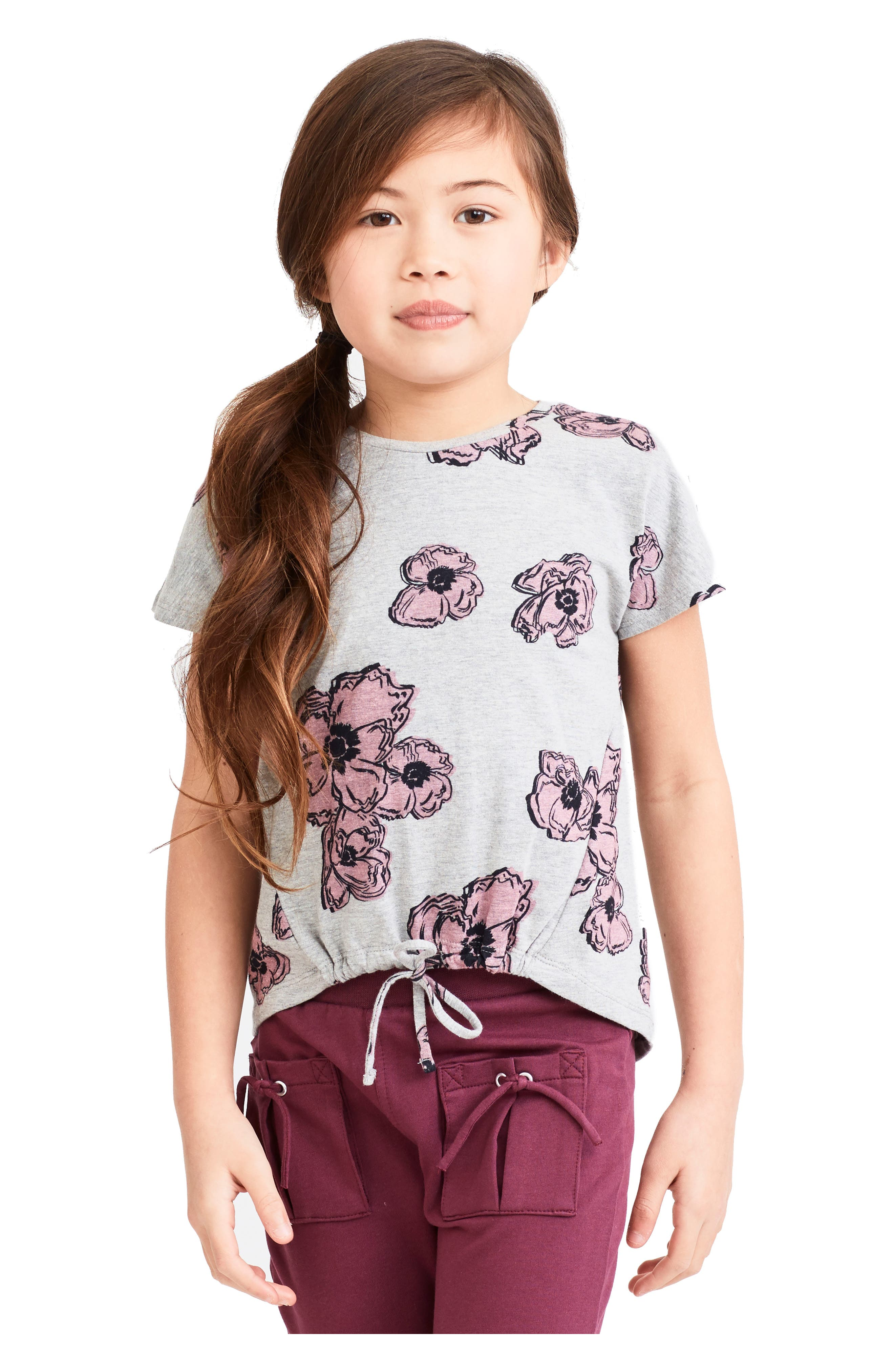 Emily Pink Poppies Shirt,                             Alternate thumbnail 2, color,                             Grey