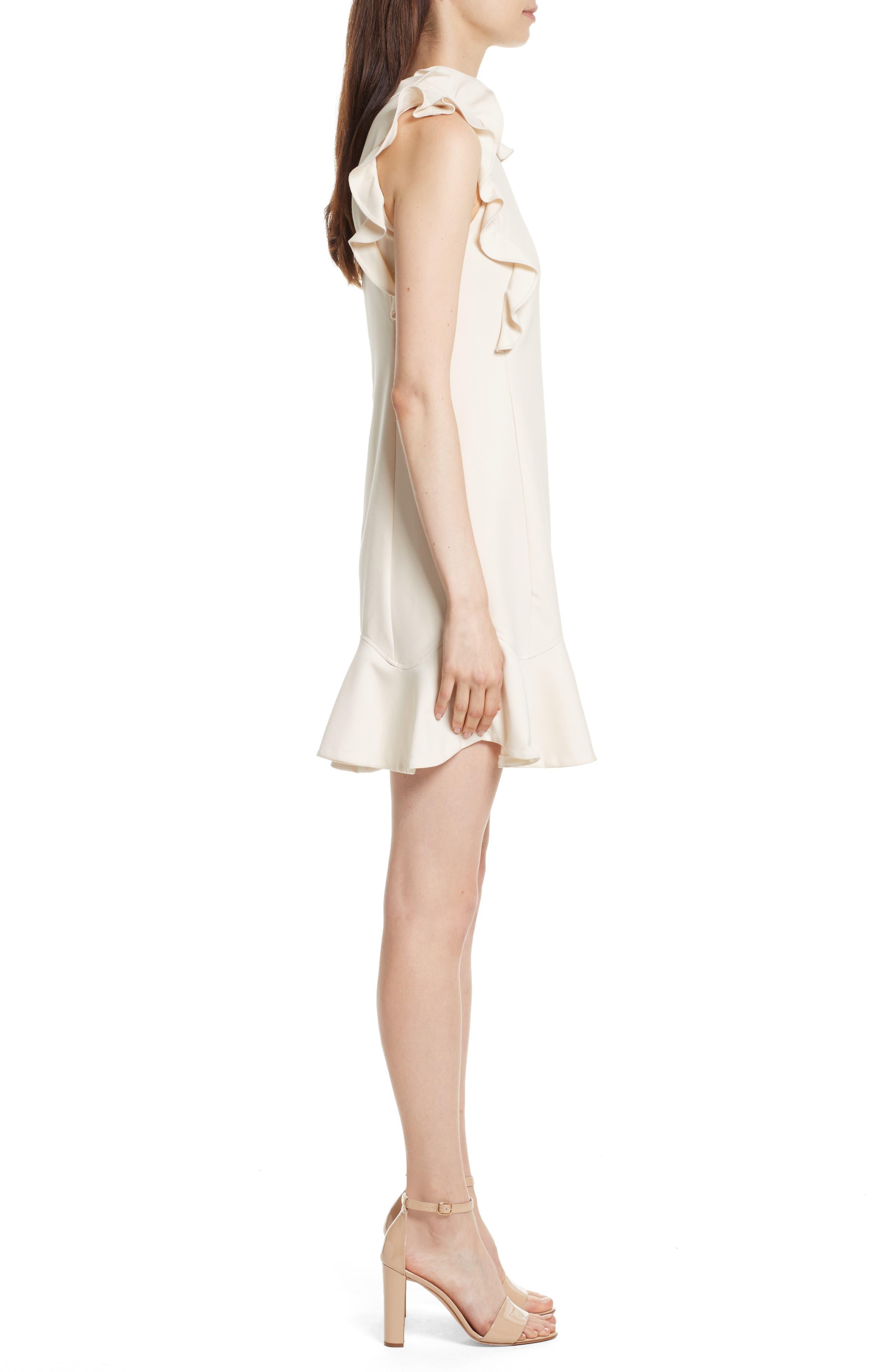 Ruffle Trim Suit Dress,                             Alternate thumbnail 3, color,                             Cream Combo