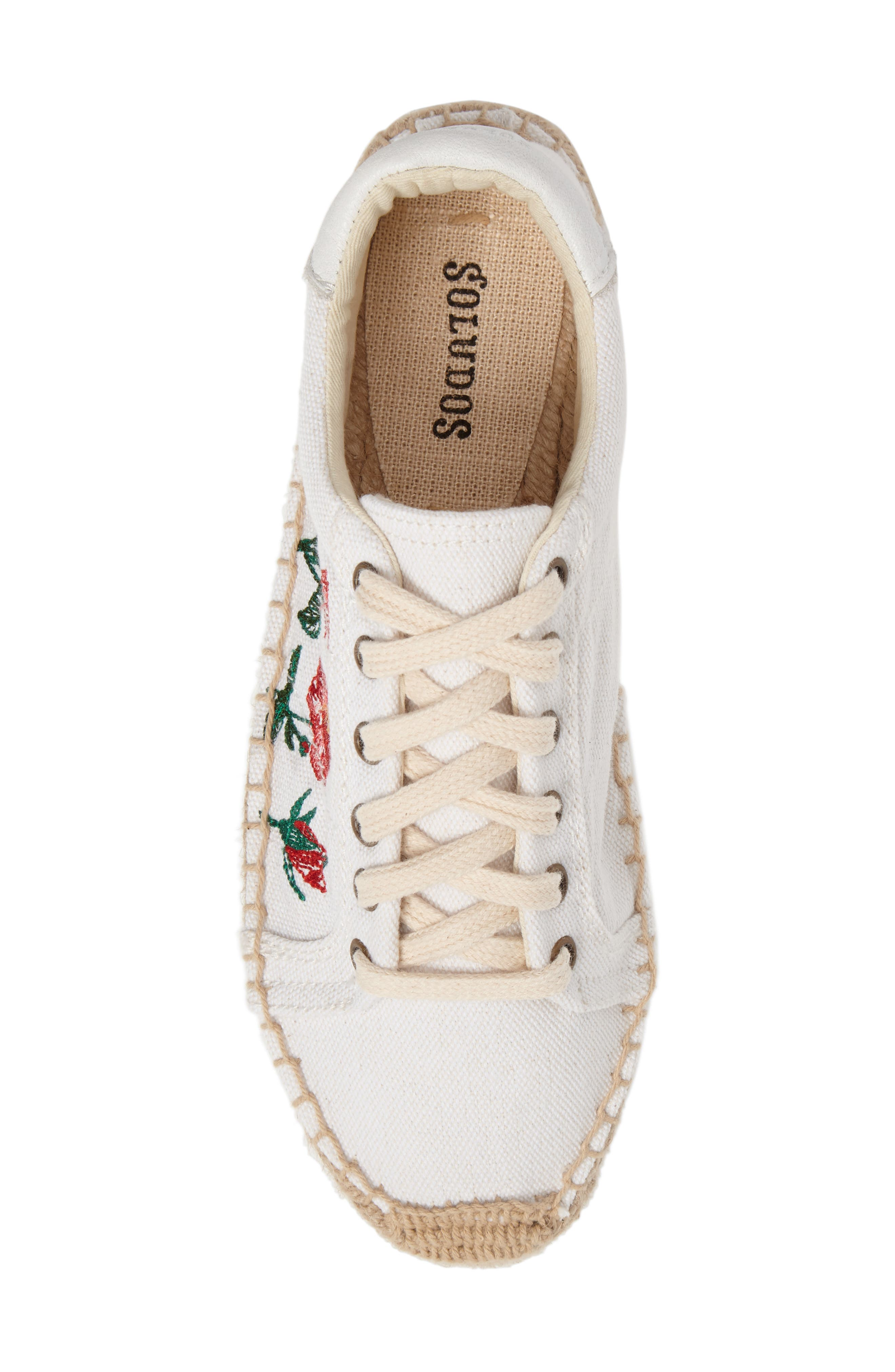 Floral Embroidered Espadrille Sneaker,                             Alternate thumbnail 4, color,                             White Canvas