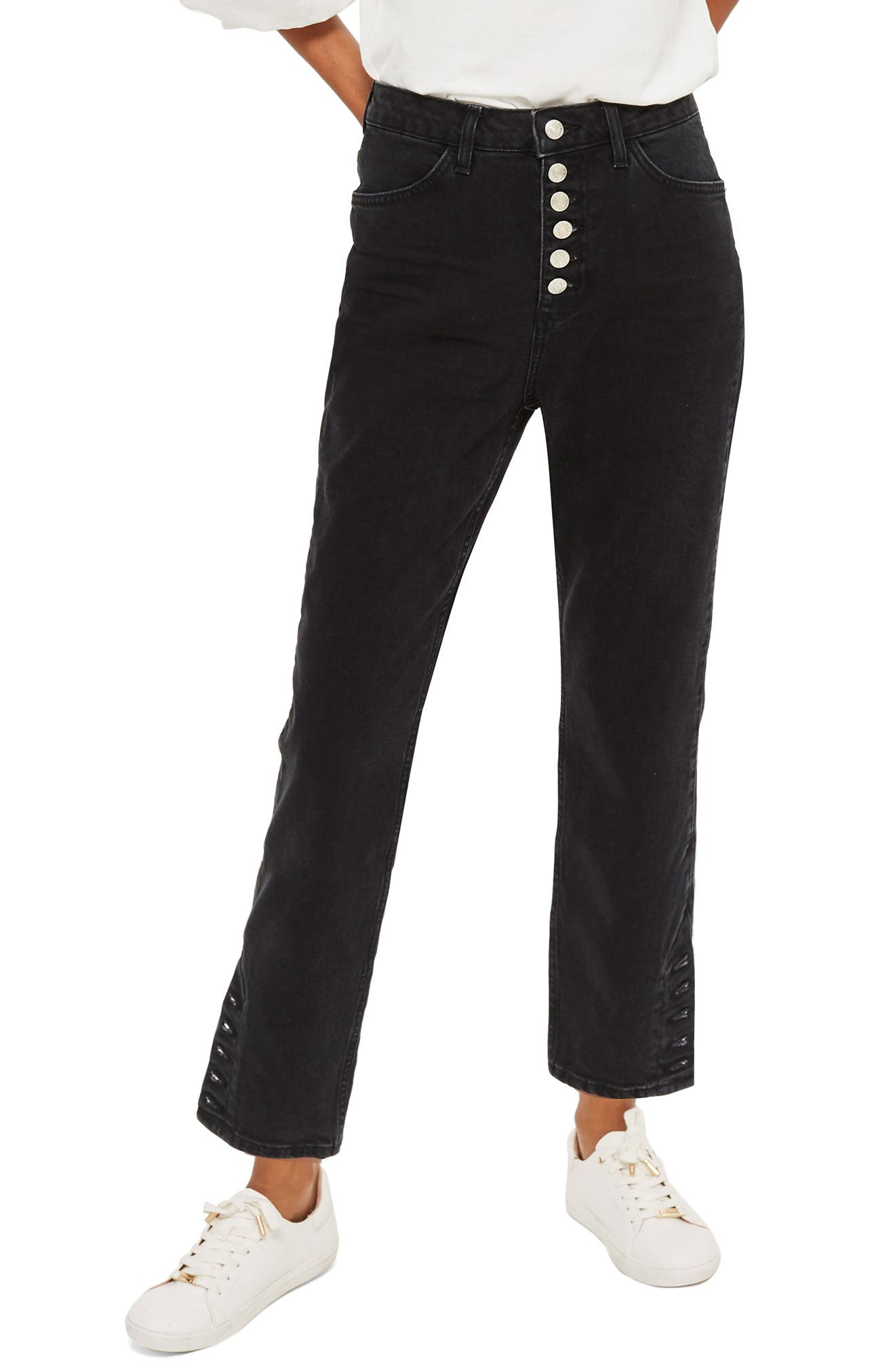 Topshop Button Straight Leg Crop Jeans