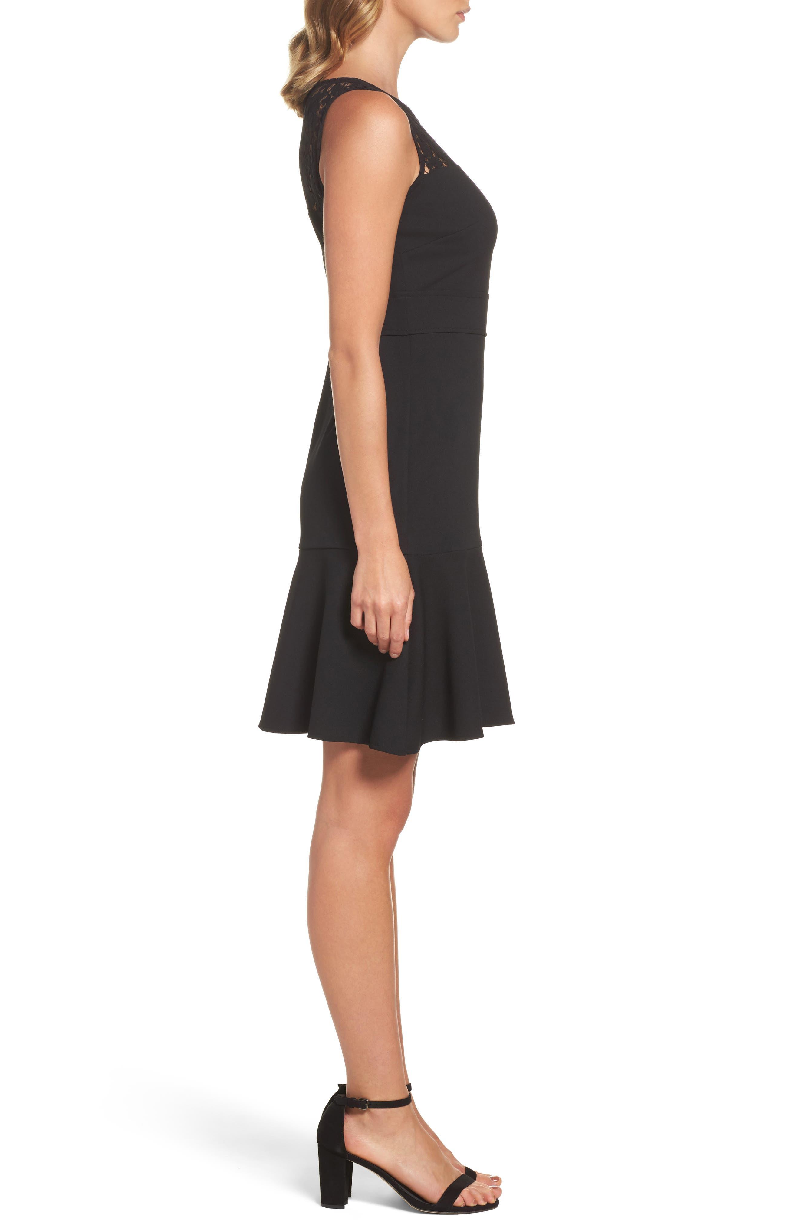 Lace Flounce Dress,                             Alternate thumbnail 3, color,                             Black