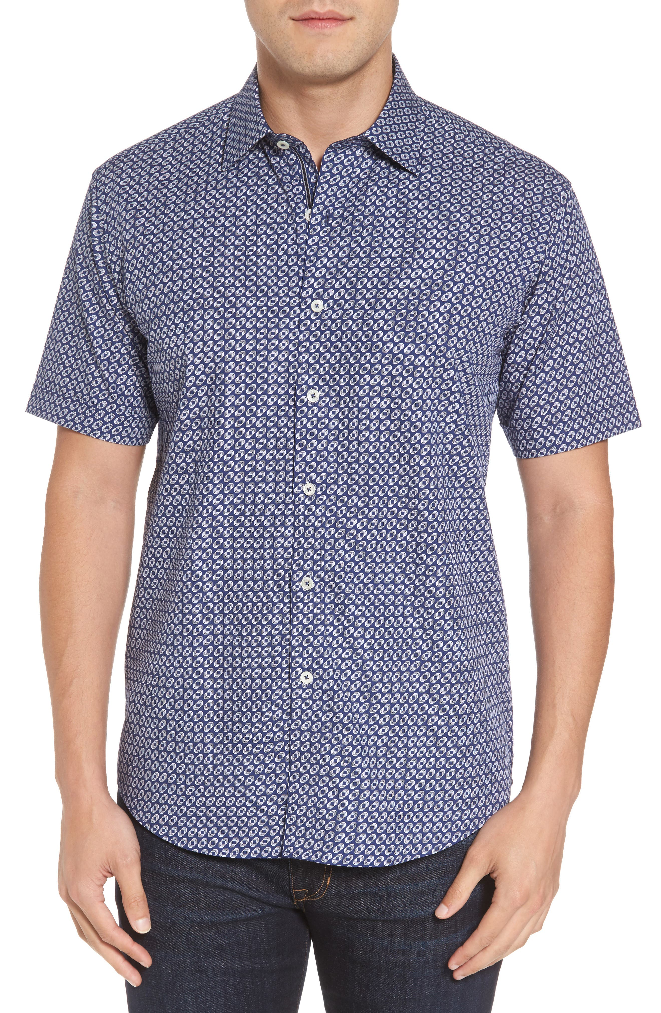 Shaped Fit Geo Print Sport Shirt,                         Main,                         color, Navy