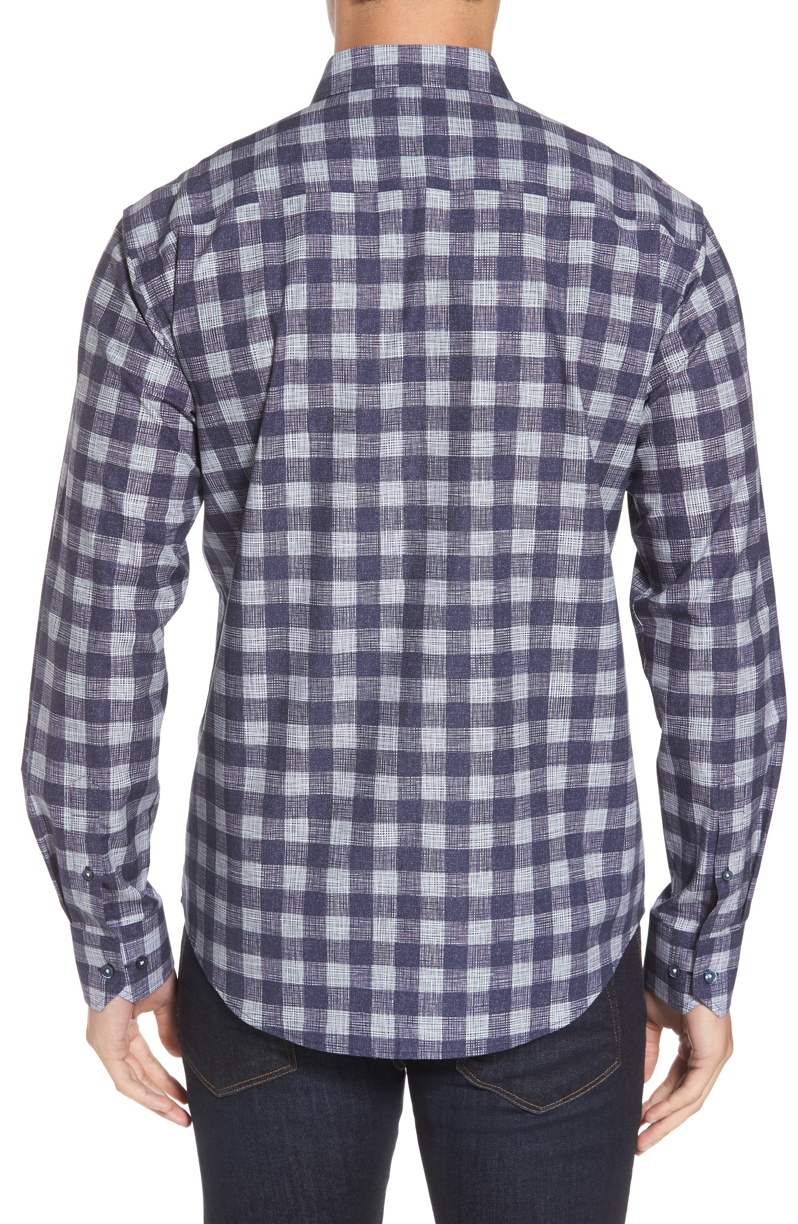 Shaped Fit Check Print Sport Shirt,                             Alternate thumbnail 2, color,                             Navy