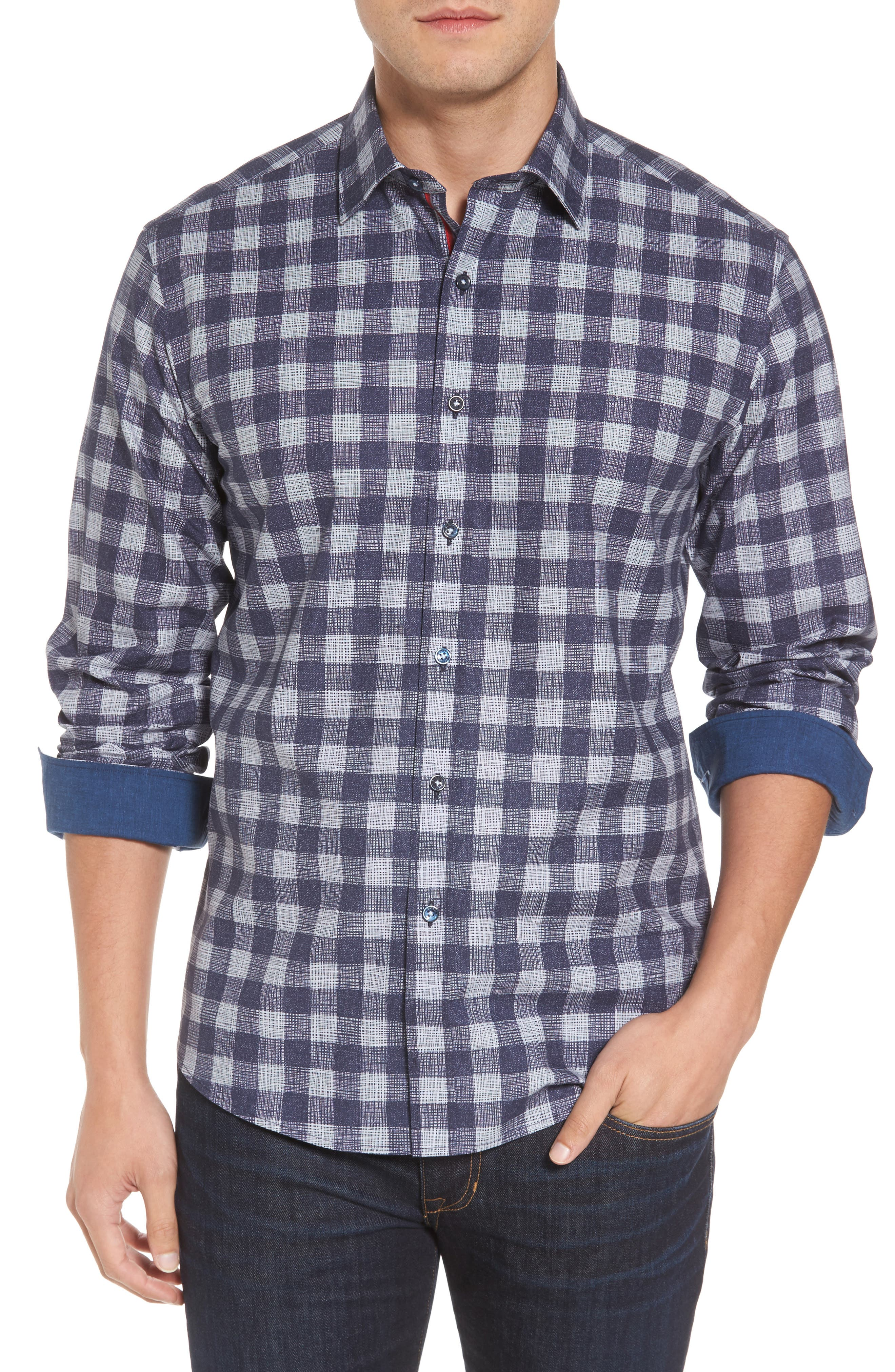 Shaped Fit Check Print Sport Shirt,                         Main,                         color, Navy