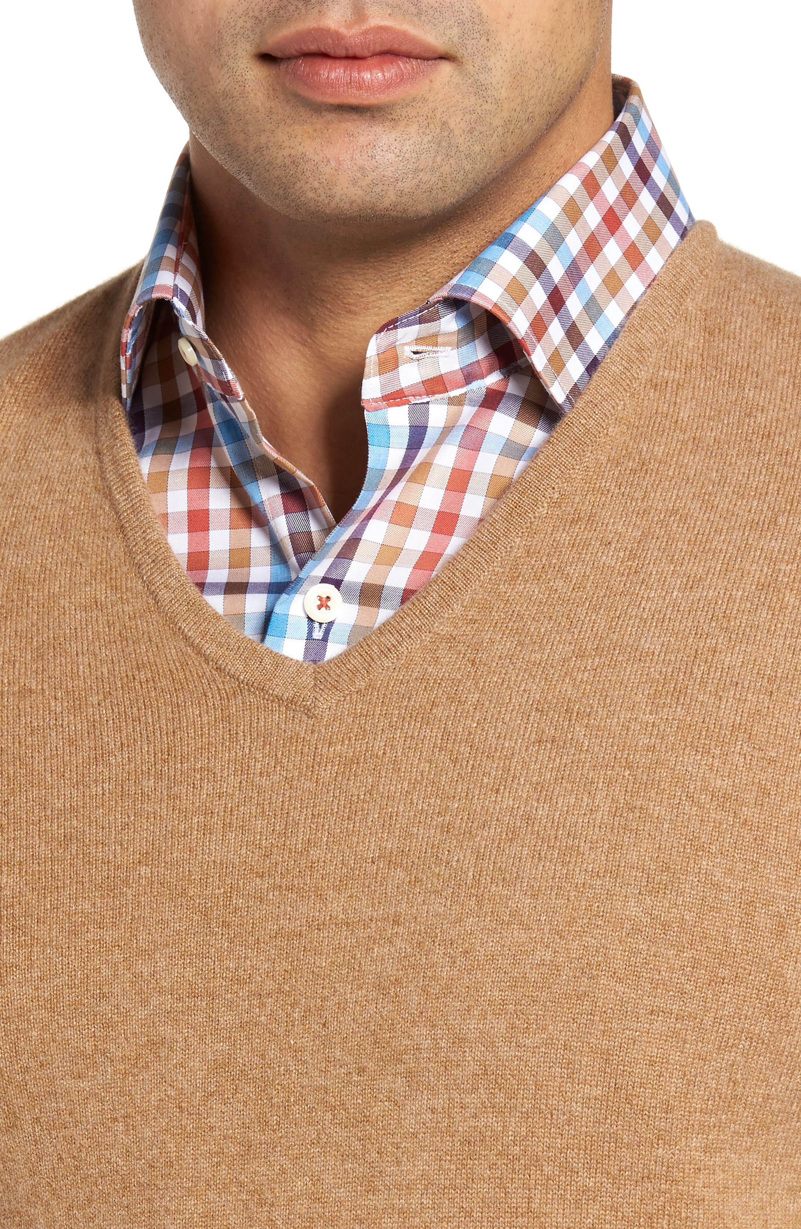 John W. Nordstrom Cashmere V-Neck Sweater,                             Alternate thumbnail 4, color,                             Brown Bear