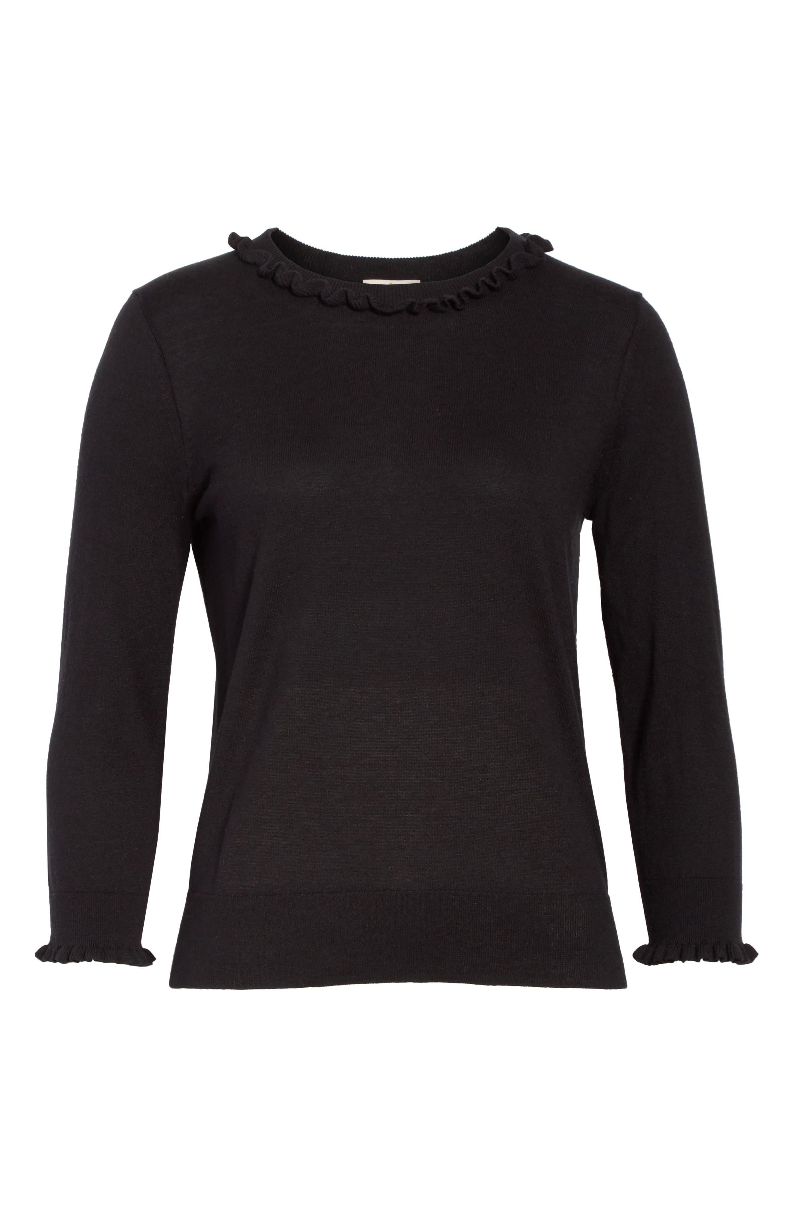 ruffle silk blend sweater,                             Alternate thumbnail 6, color,                             Black
