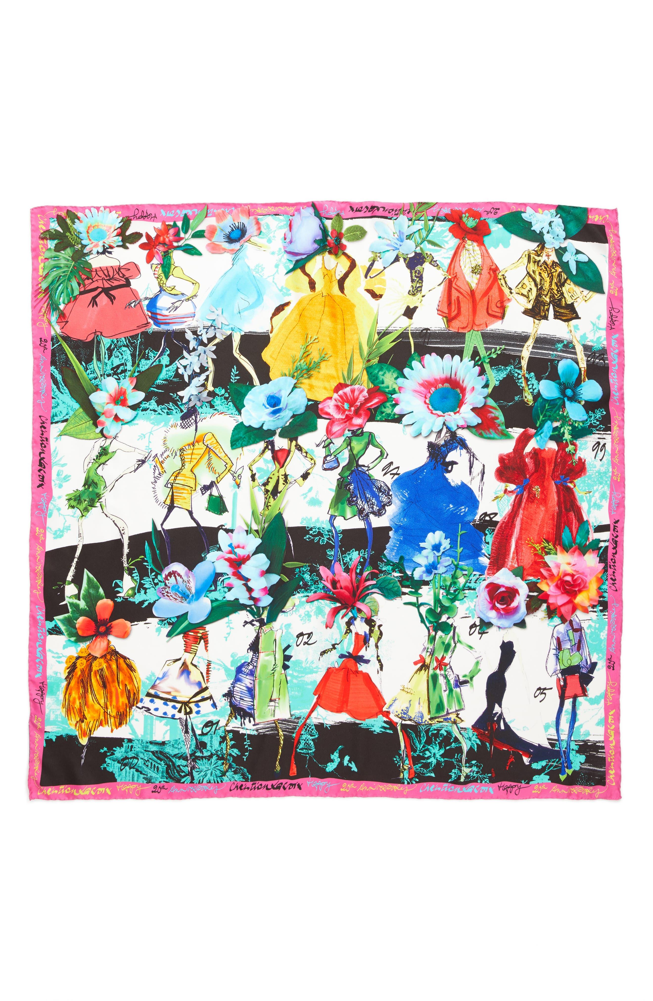 Les Filles en Fleur Square Silk Scarf,                         Main,                         color, Fuchsia