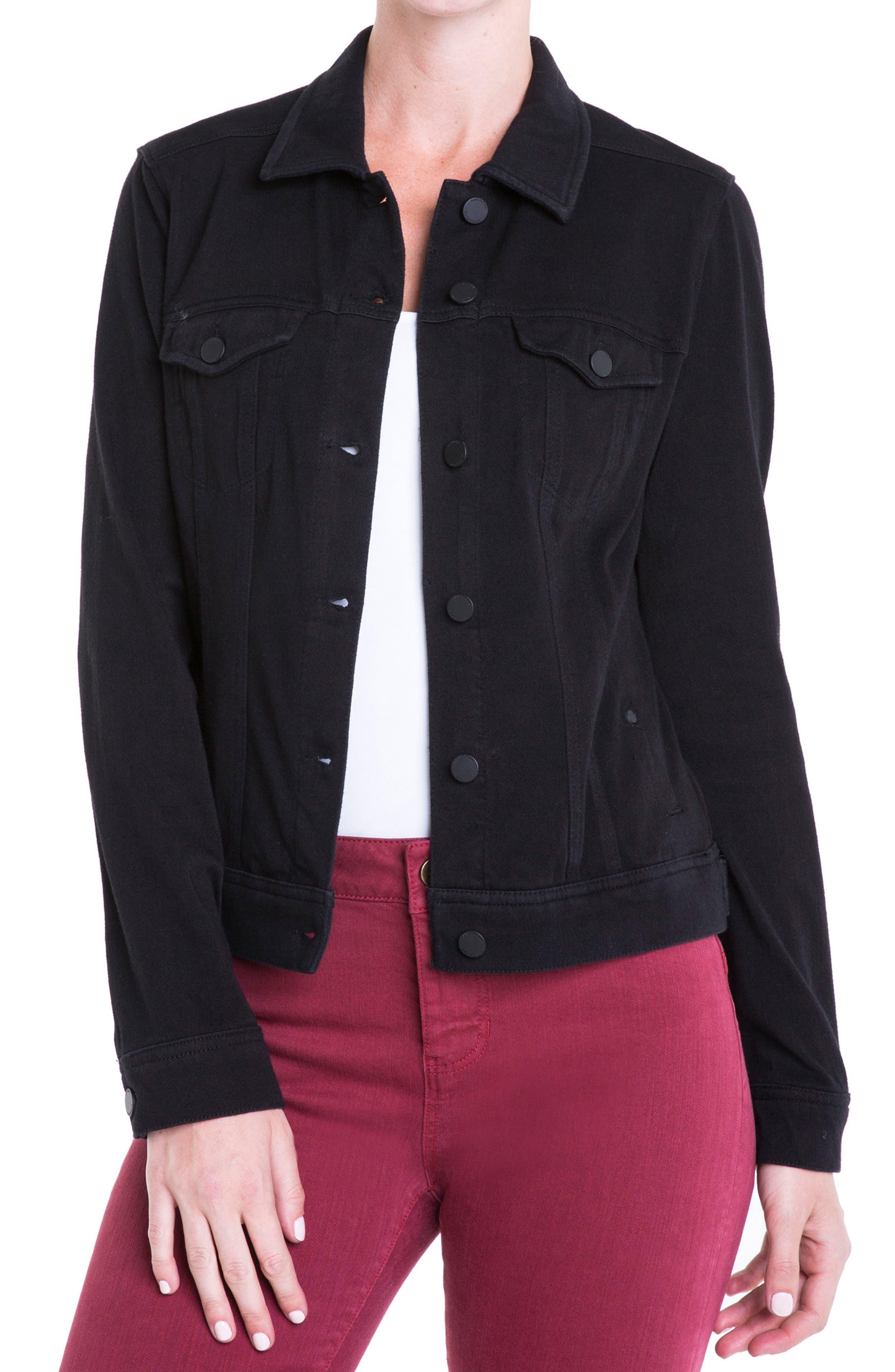 Jeans Co. Knit Denim Jacket,                         Main,                         color, Black Rinse