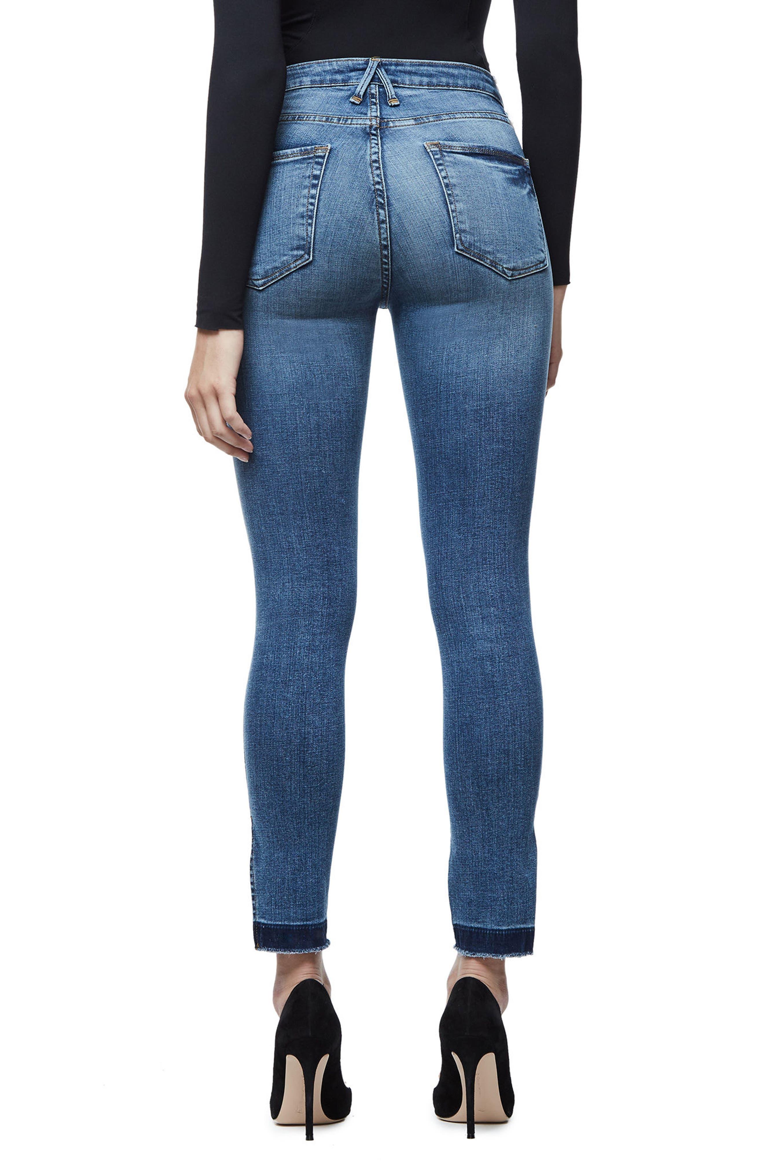 Alternate Image 2  - Good American Good Legs High Rise Split Hem Crop Skinny Jeans (Blue 061)