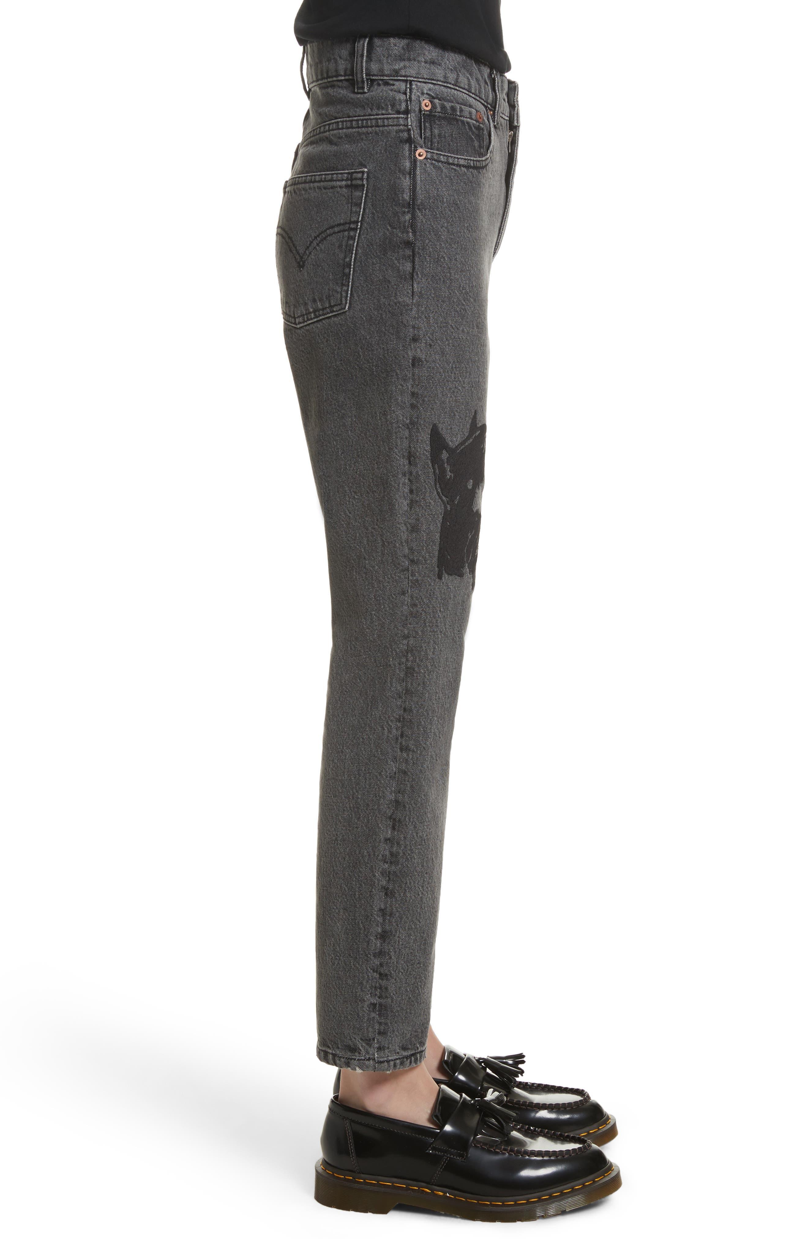 Alternate Image 4  - Ashley Williams Dog Embroidered Jeans (Grey)
