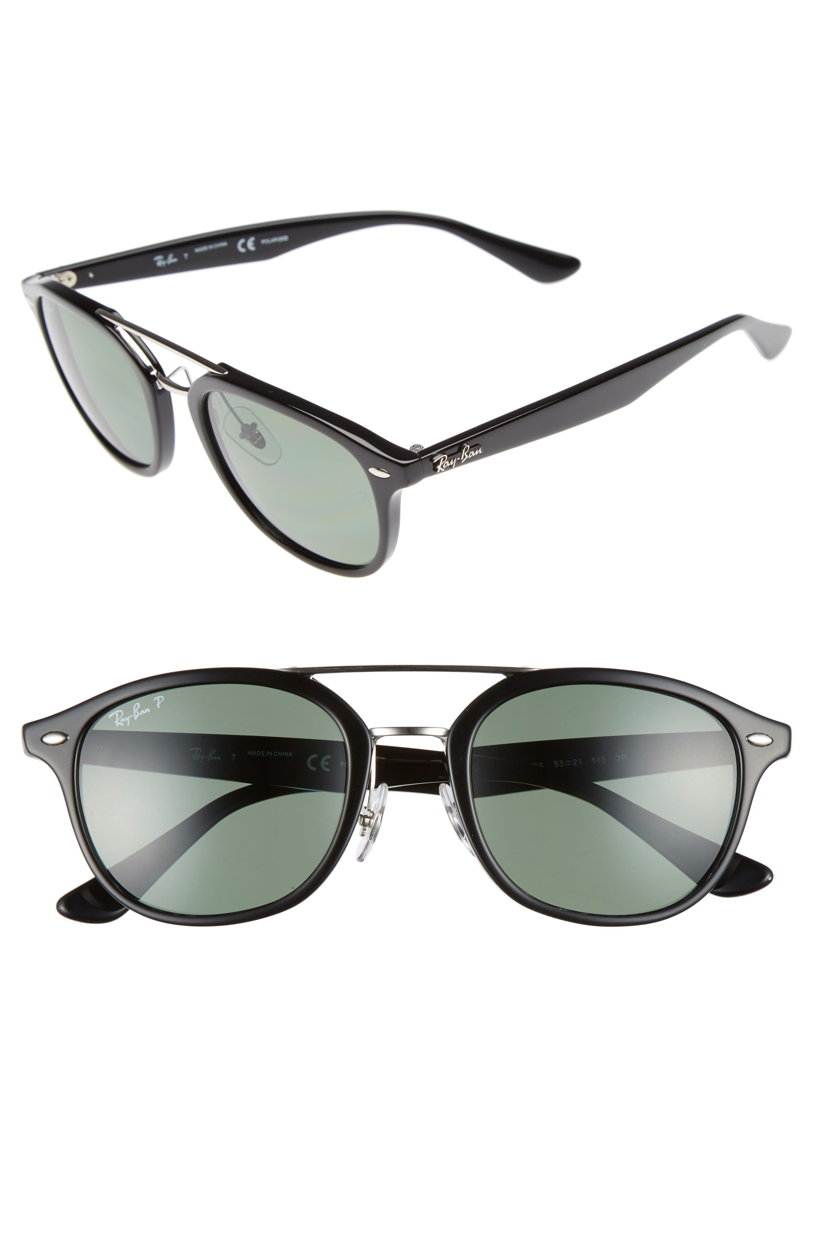 53mm Polarized Sunglasses,                             Main thumbnail 1, color,                             Black