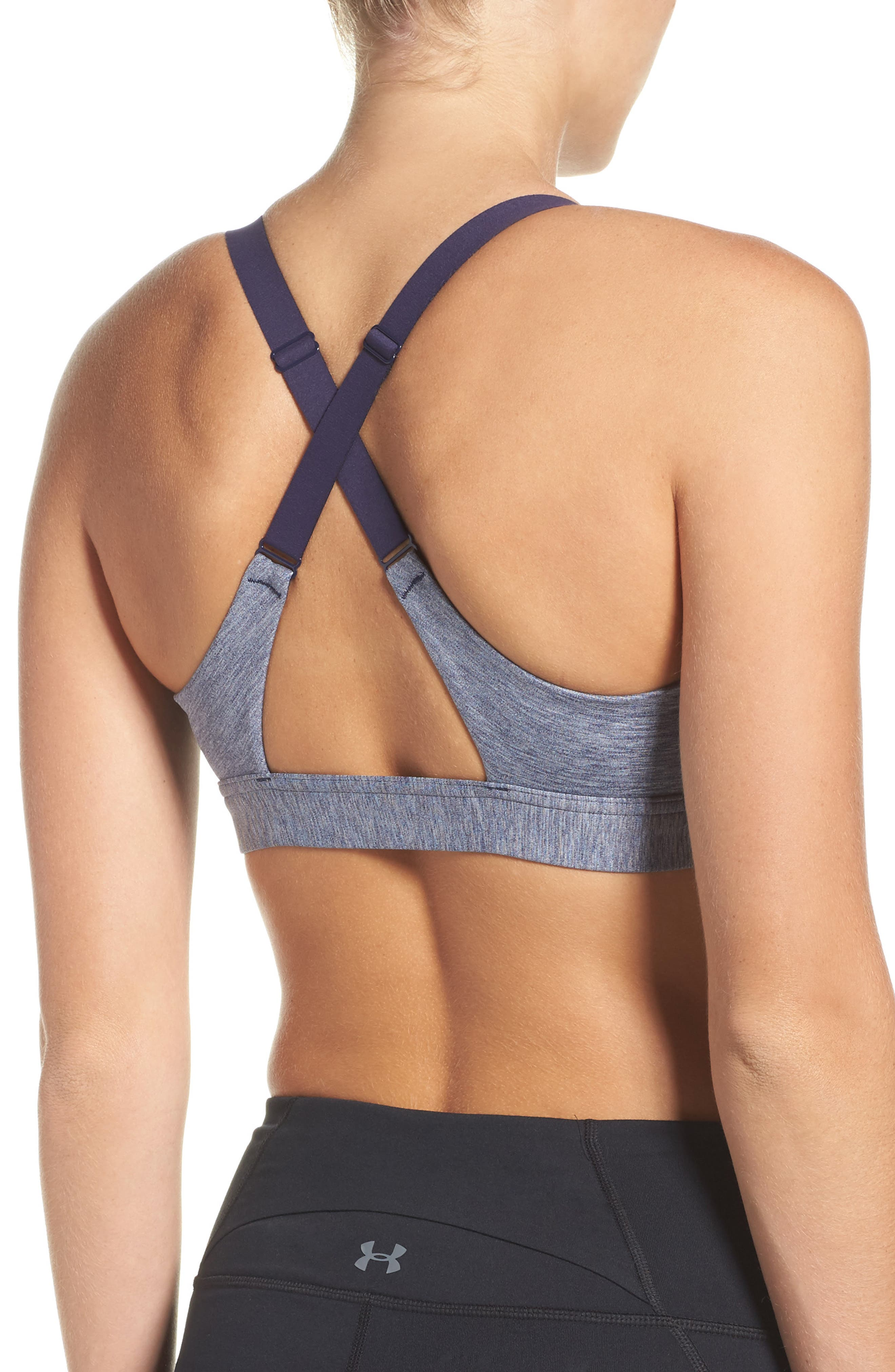 Eclipse Sports Bra,                             Alternate thumbnail 2, color,                             Navy/ Light Heather/ Silver