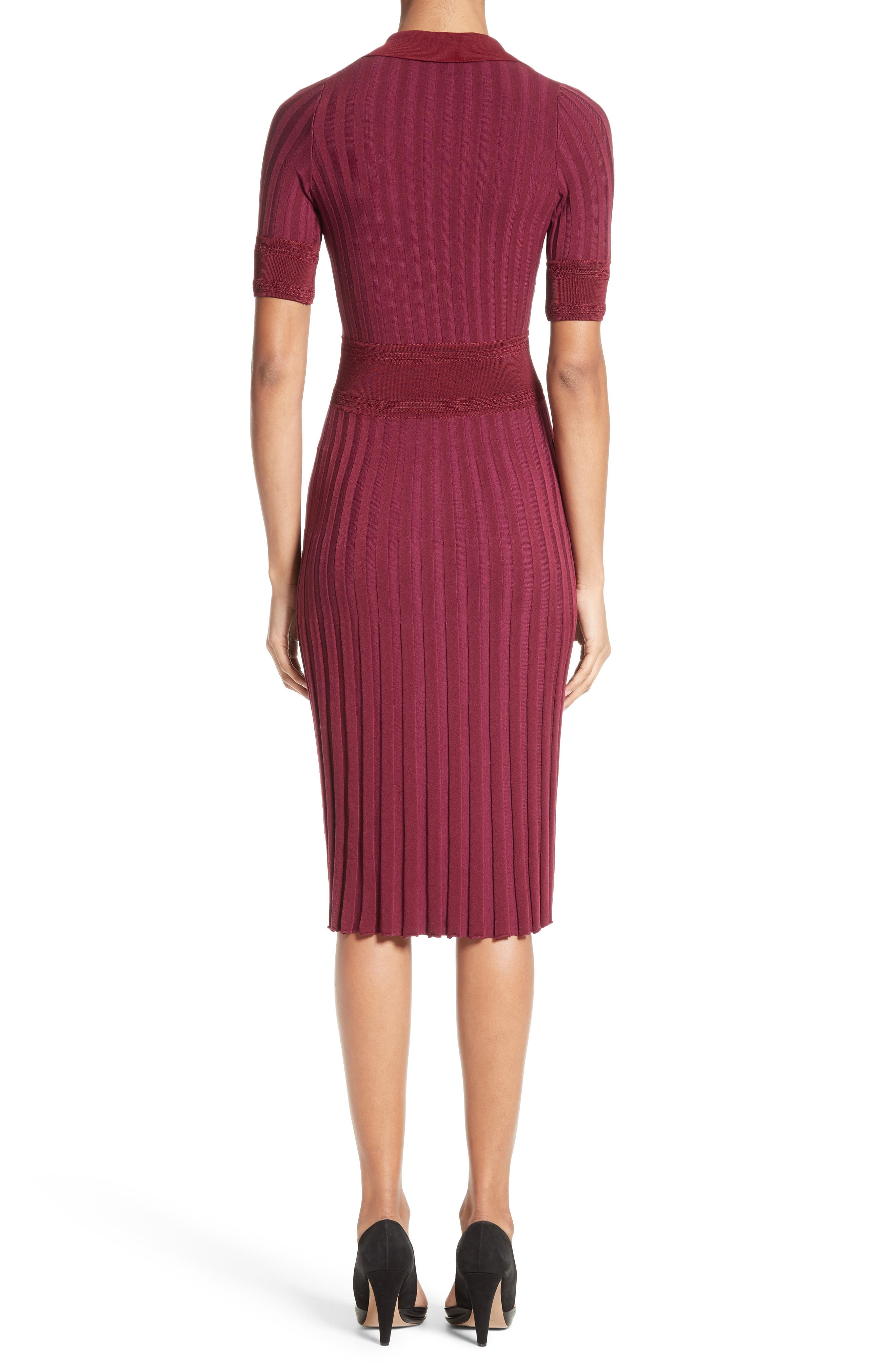 Olivia Knit Shirtdress,                             Alternate thumbnail 2, color,                             Port