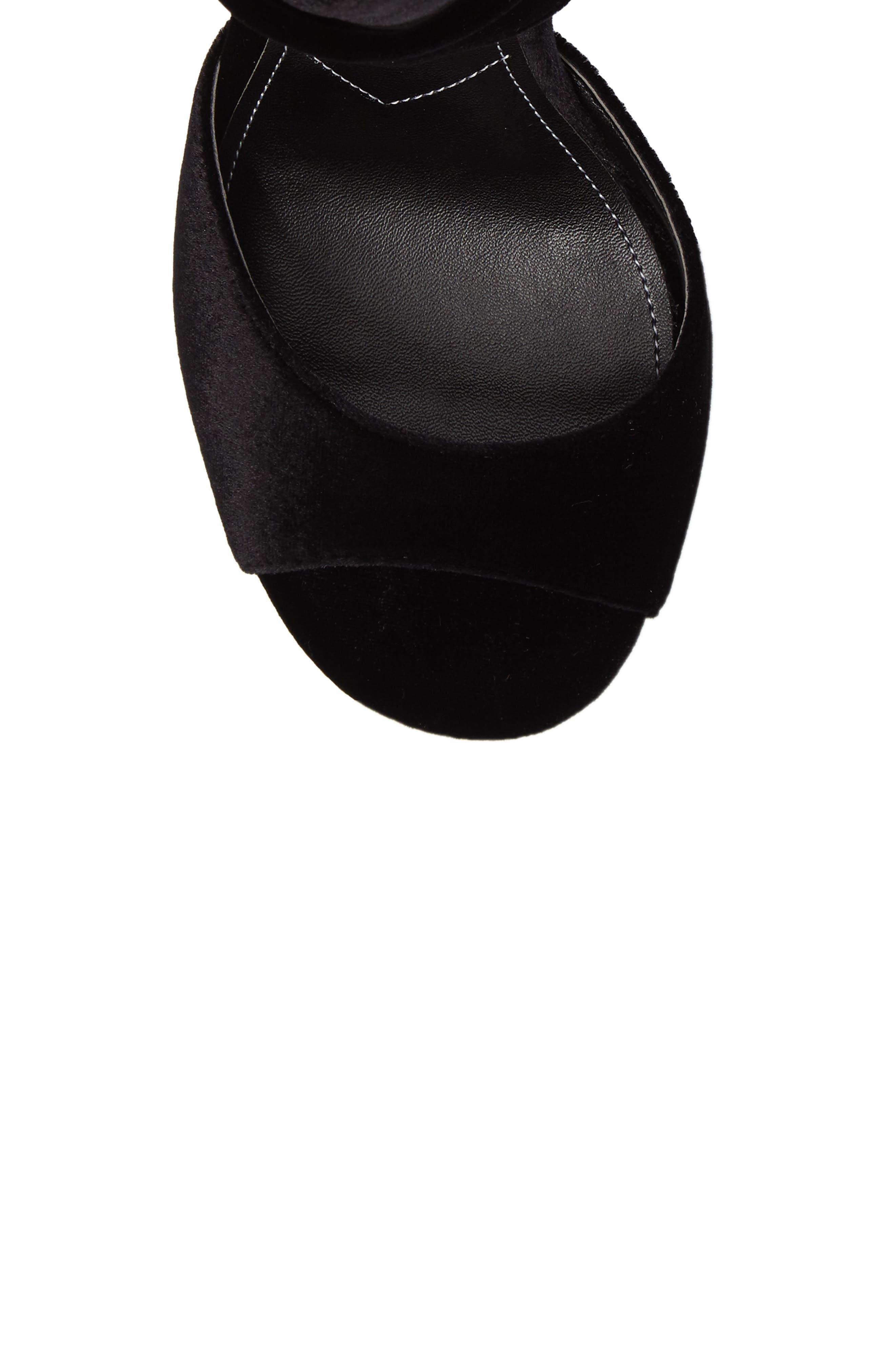 Rebecca Sandal,                             Alternate thumbnail 5, color,                             Black Fabric