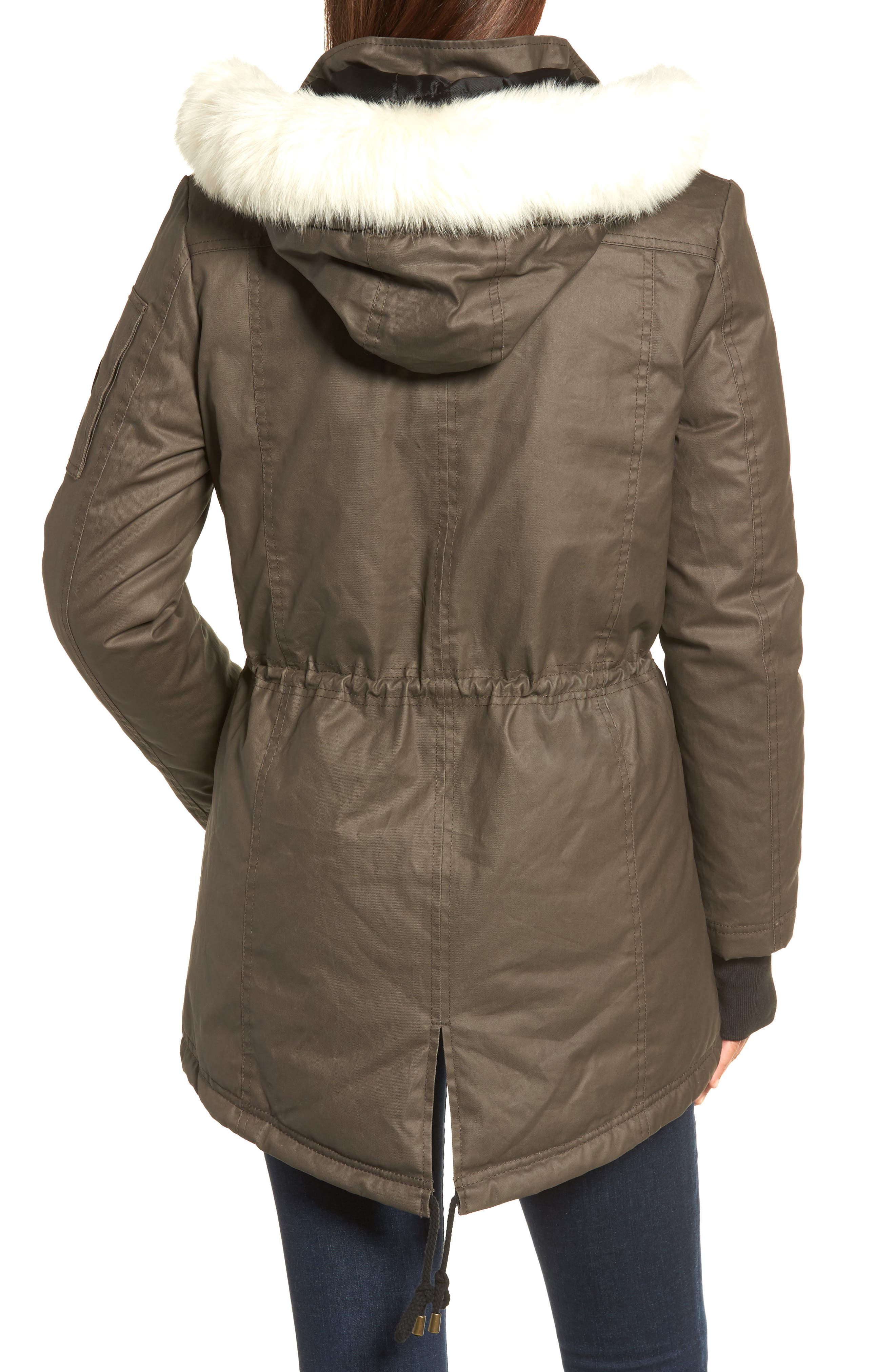 Genuine Shearling Trim Wax Coated Parka,                             Alternate thumbnail 2, color,                             Dark Olive