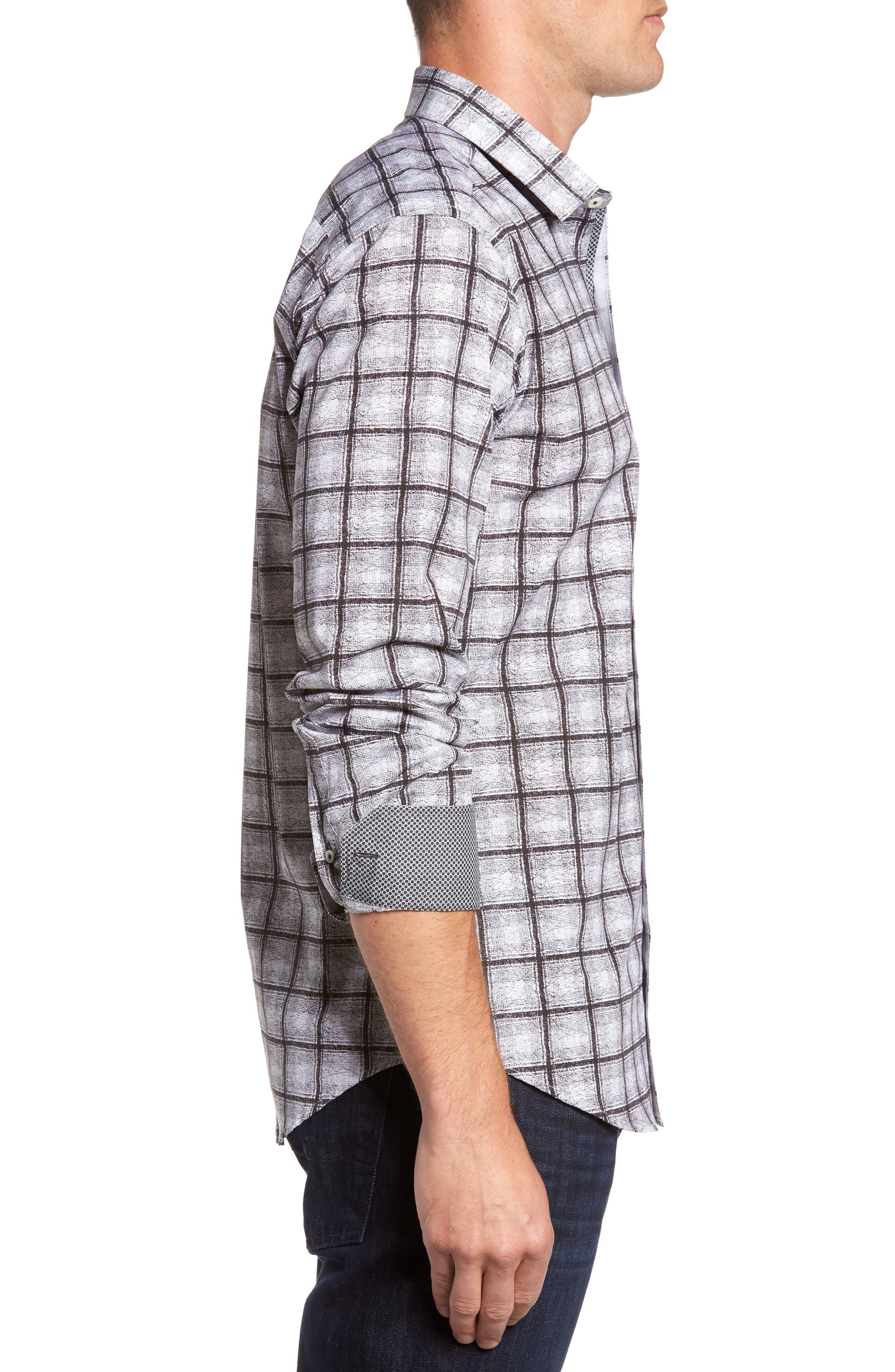 Shaped Fit Check Sport Shirt,                             Alternate thumbnail 3, color,                             Black