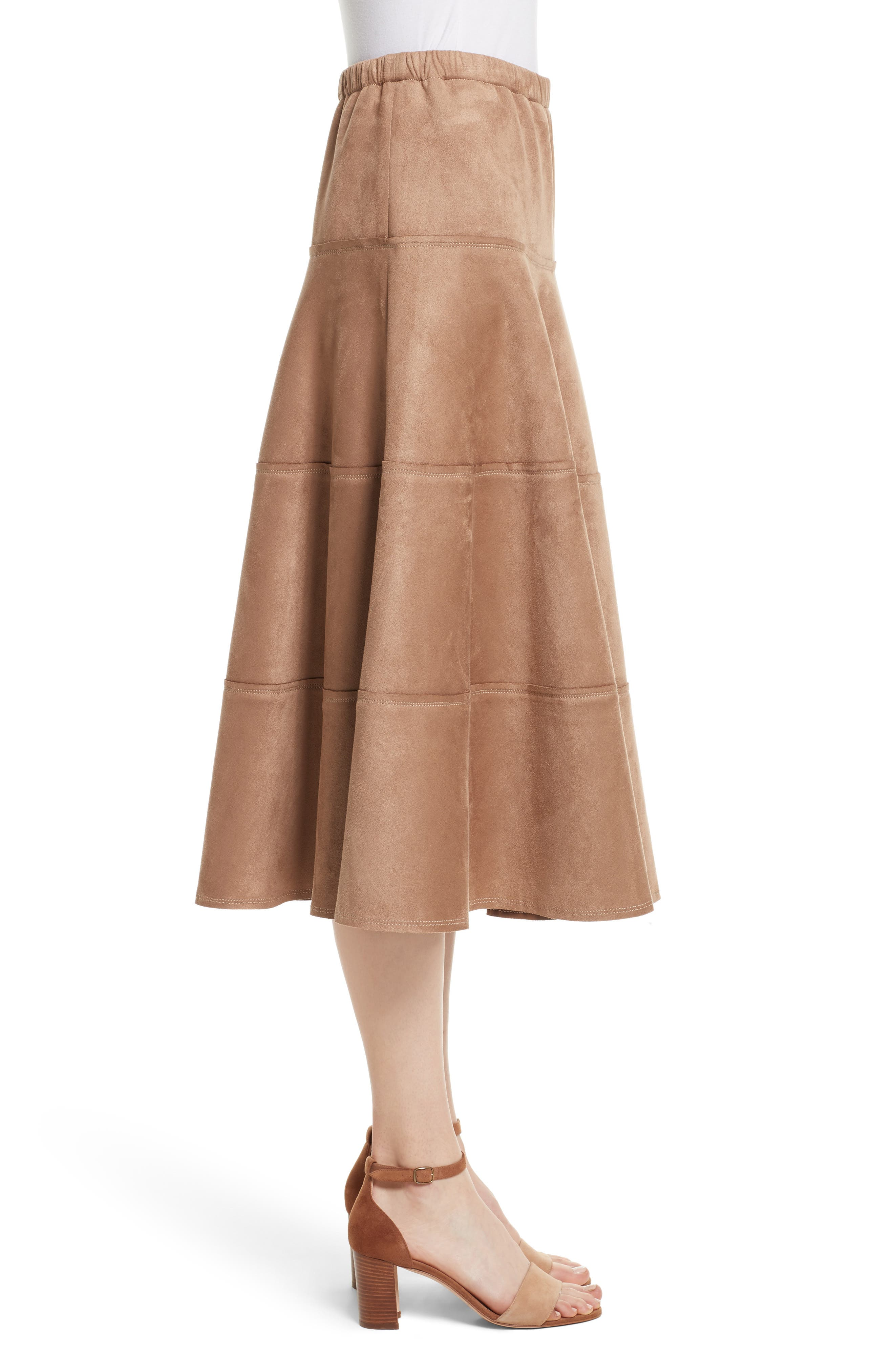 Metallic Midi Skirt,                             Alternate thumbnail 3, color,                             Dark Sand