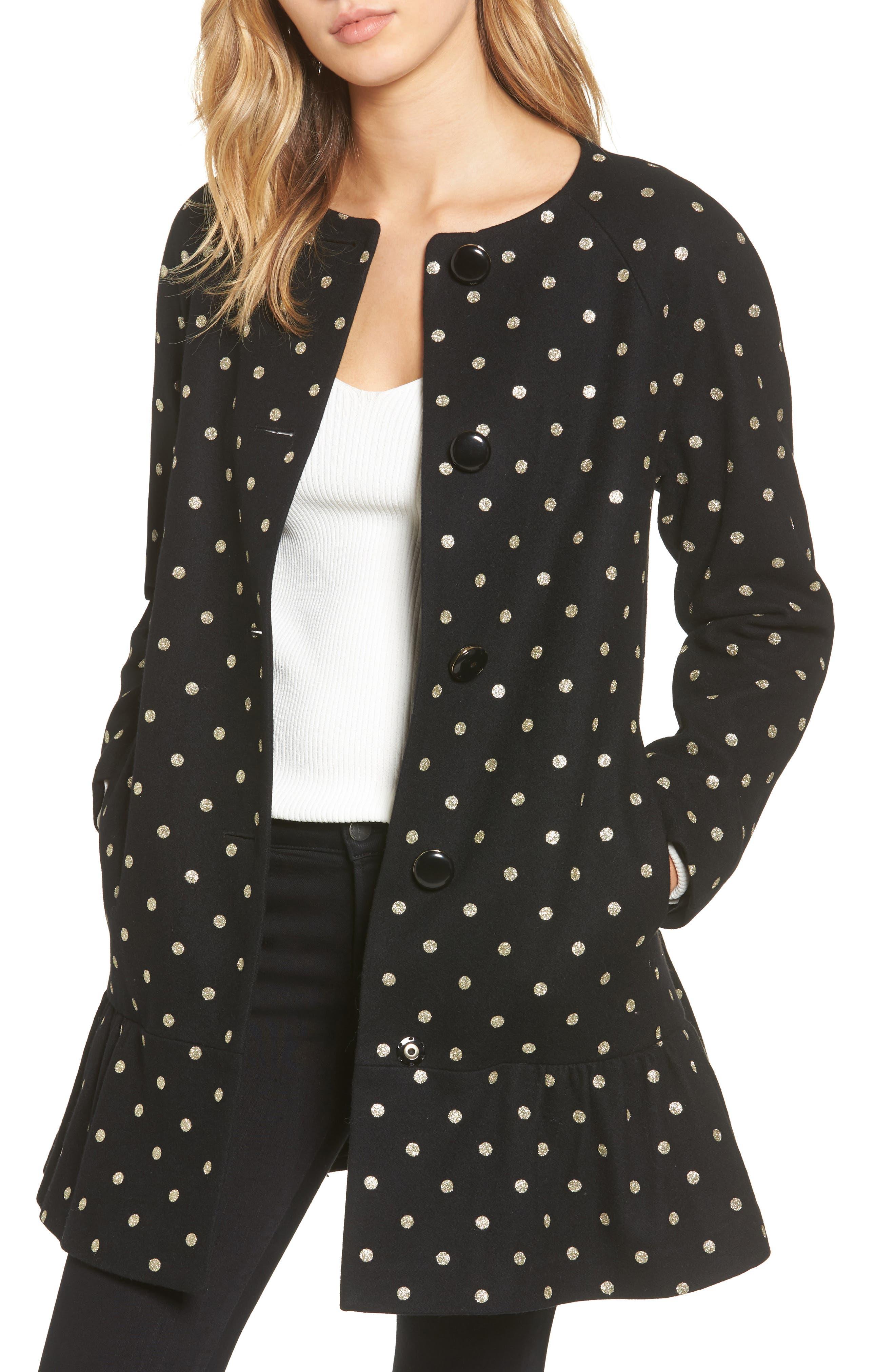 glitter dot wool blend coat,                         Main,                         color, Black