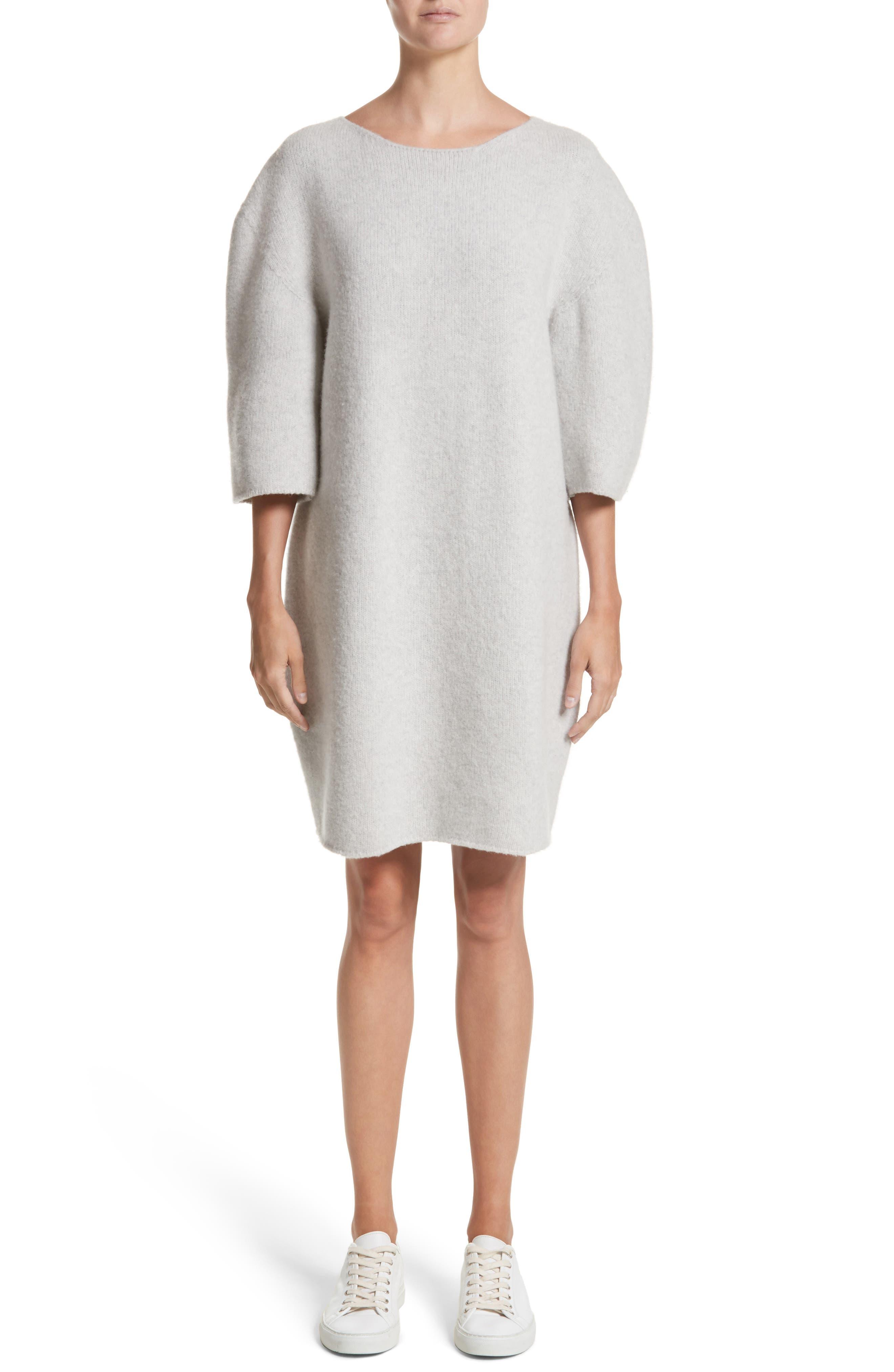Baseball Wool Sweater Dress,                             Main thumbnail 1, color,                             Silver Melange