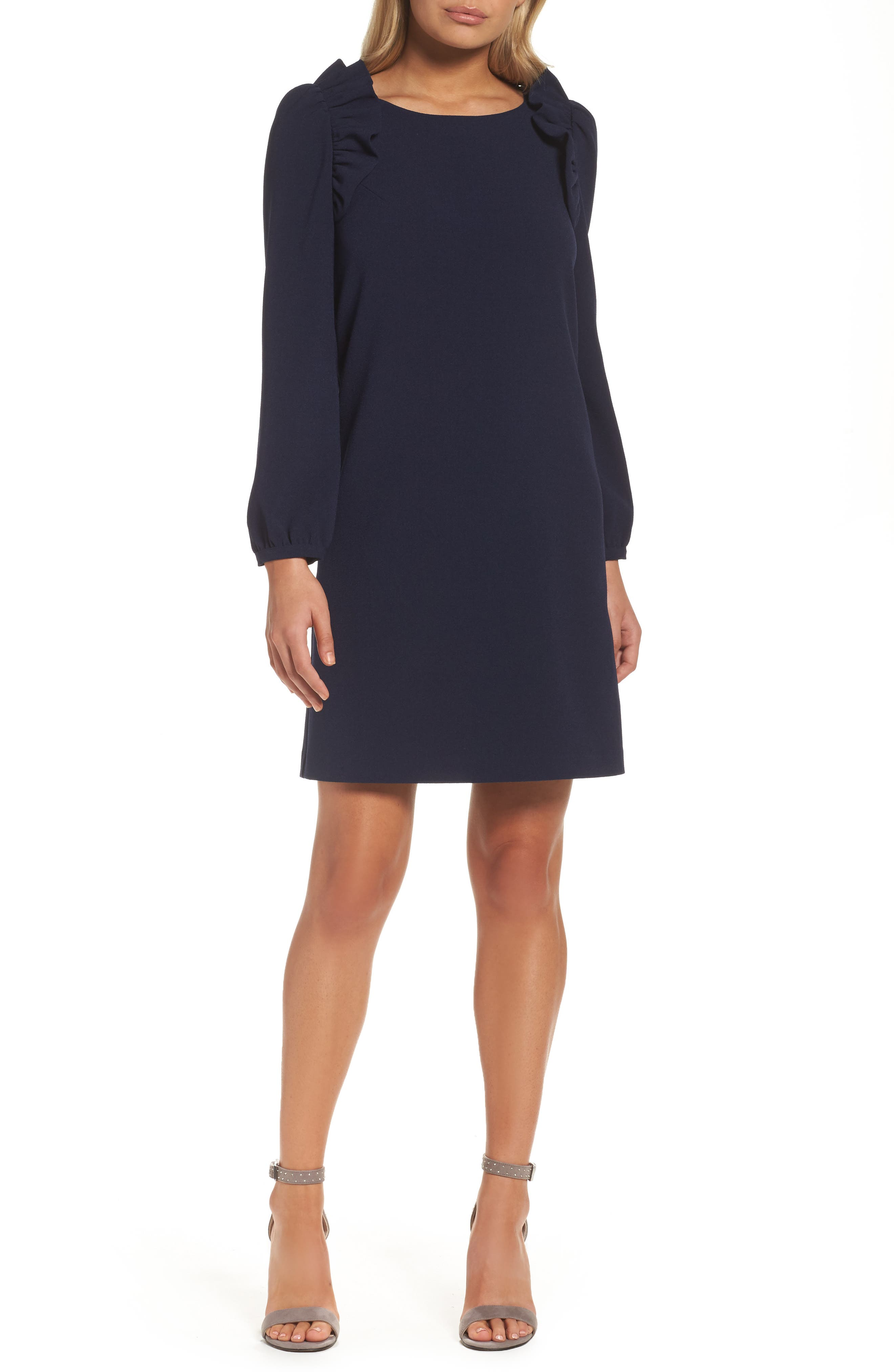 Shoulder Ruffle Shift Dress,                         Main,                         color, Navy Peacoat