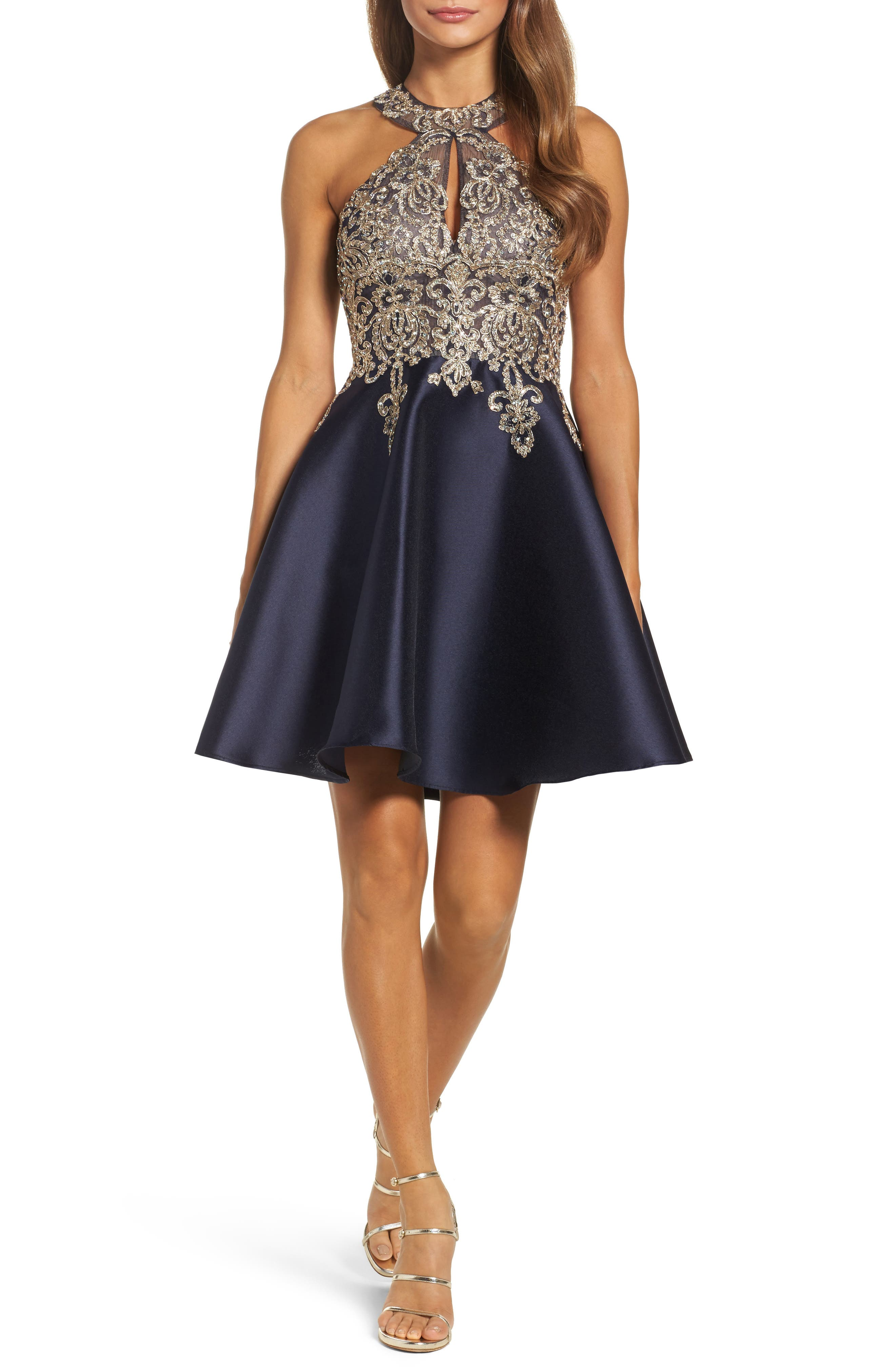 Embellished Embroidered Mikado Party Dress,                         Main,                         color, Navy/ Gold