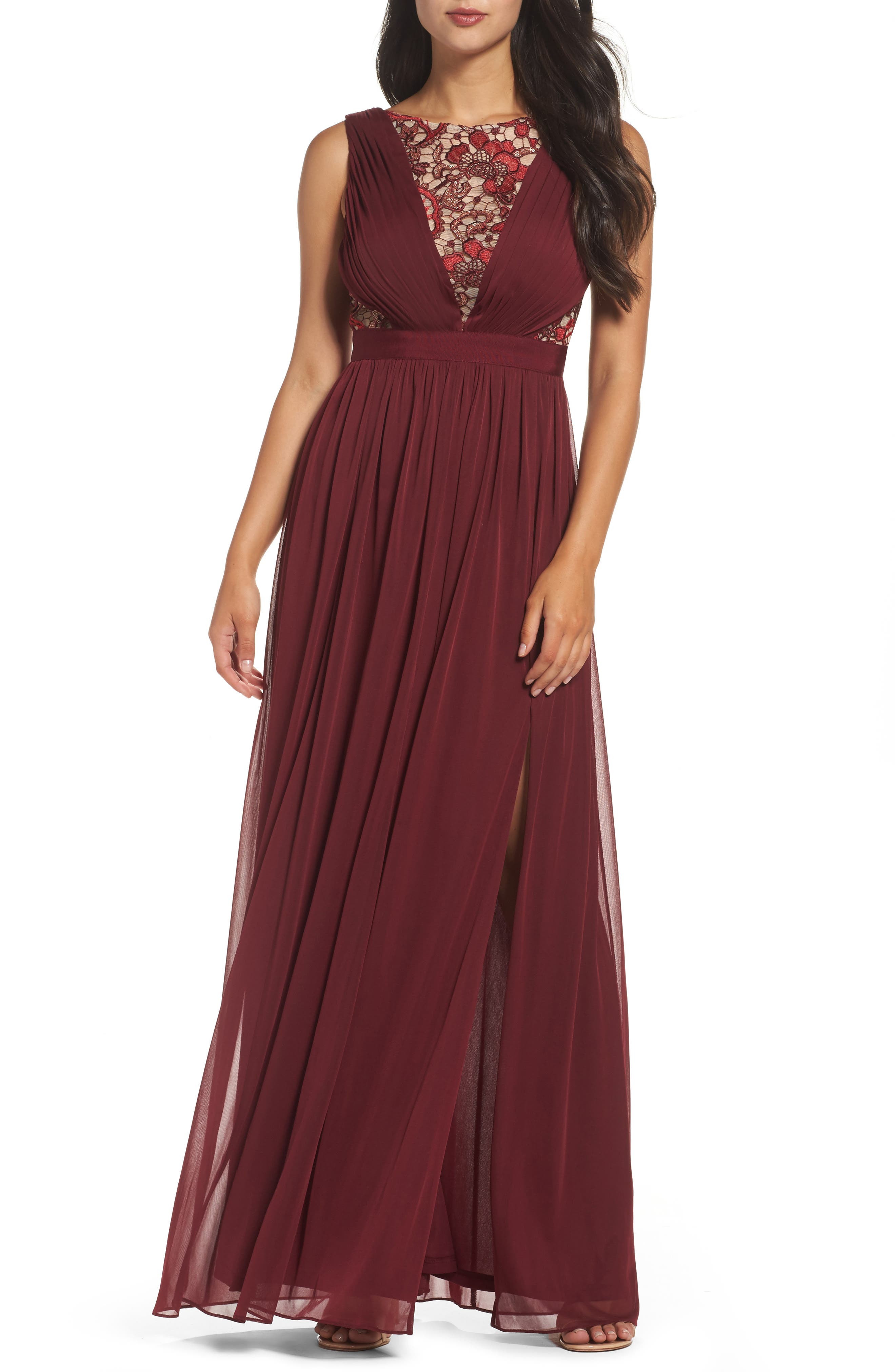 Sequin Lace & Tulle Gown,                         Main,                         color, Black Cherry