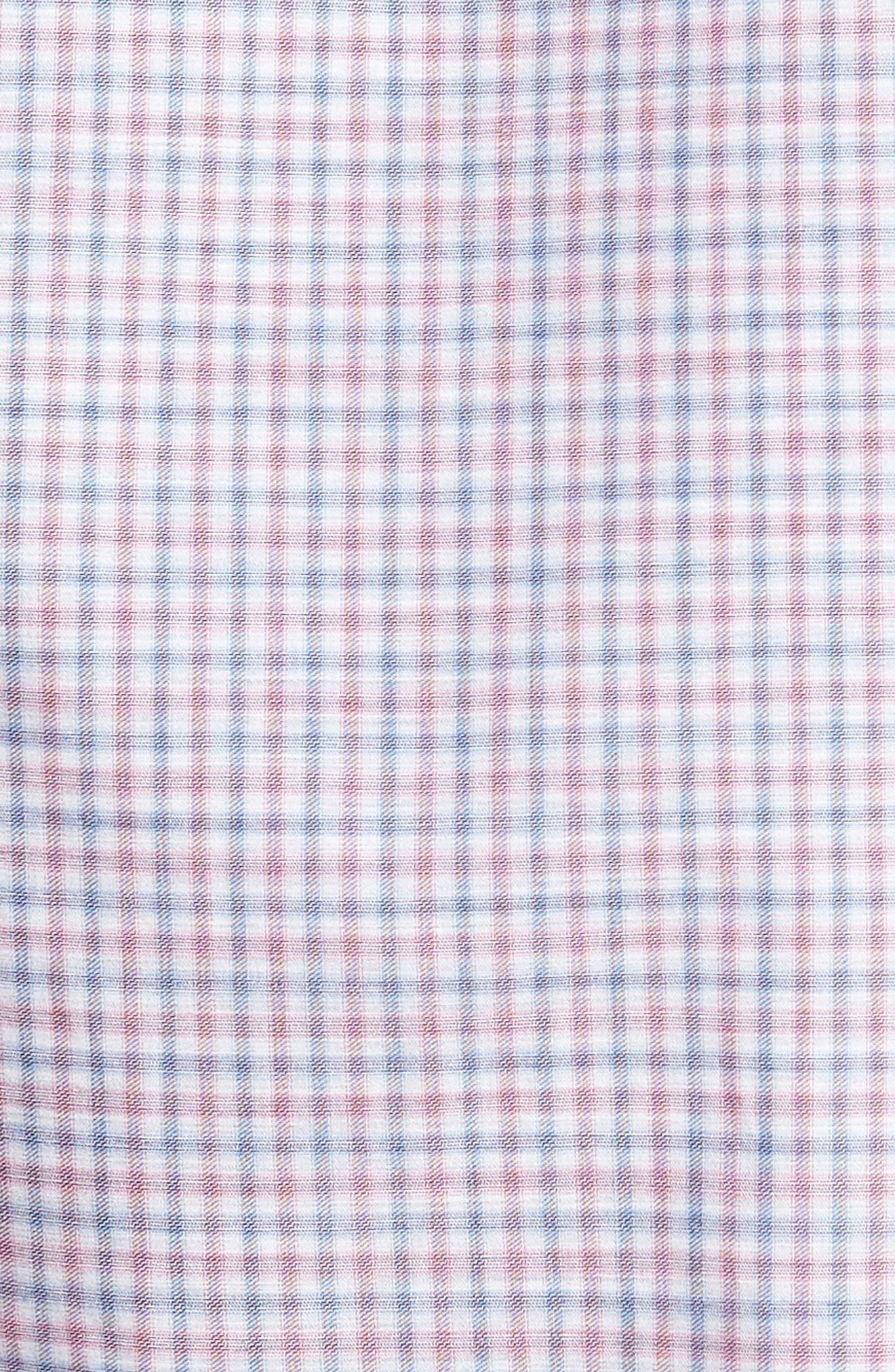 Alternate Image 5  - Culturata Trim Fit Mini Plaid Sport Shirt