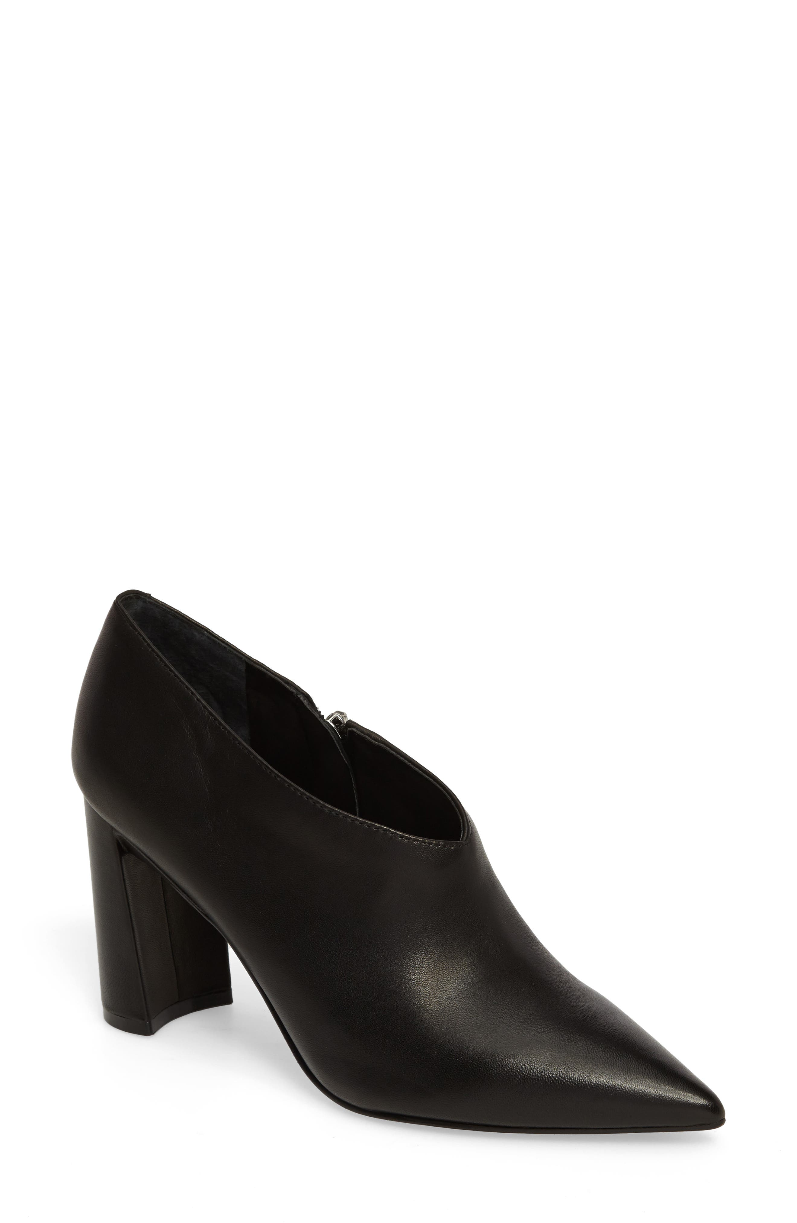 Hoda Pointy Toe Bootie,                             Main thumbnail 1, color,                             Black Leather