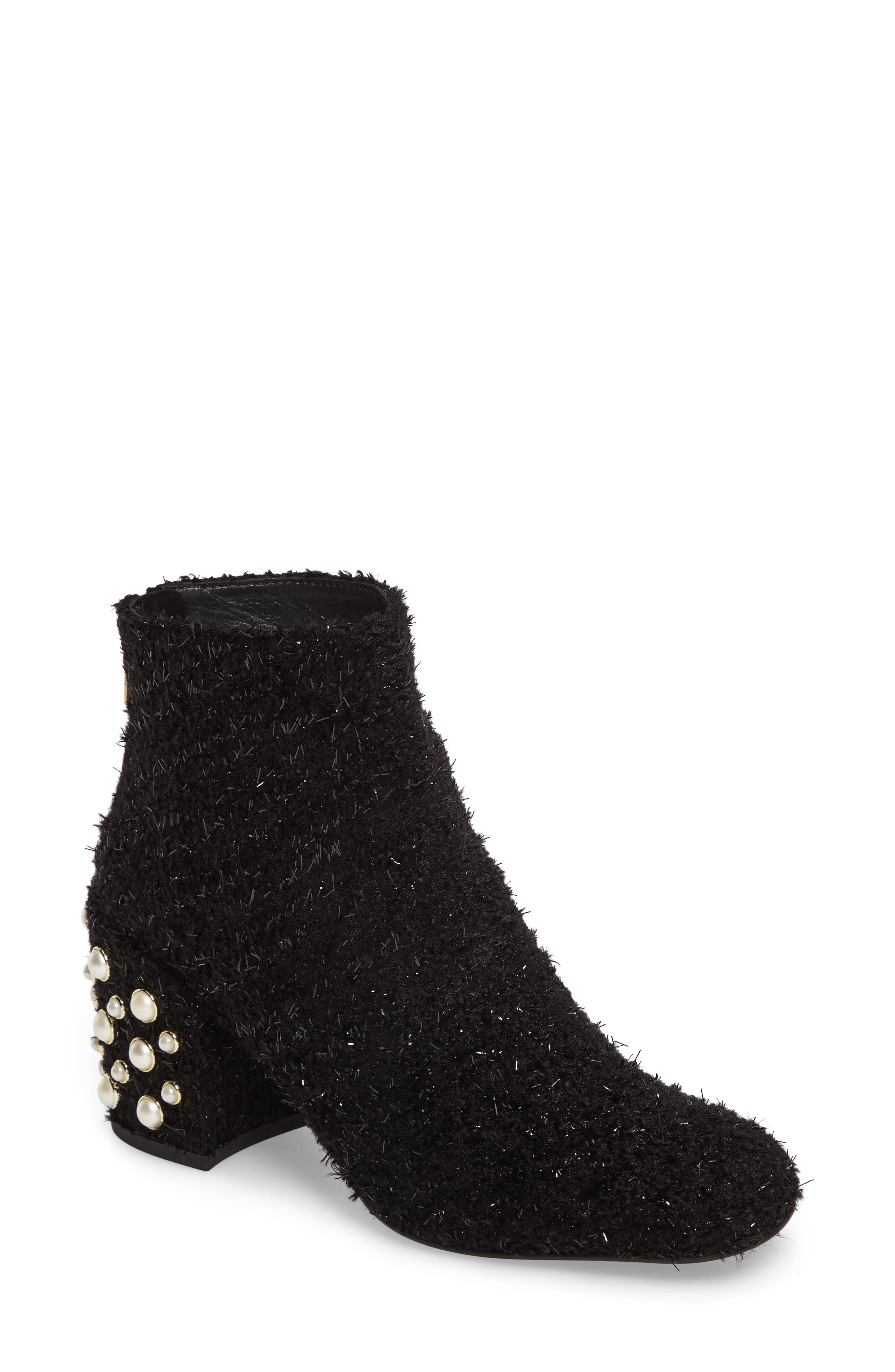 Pearlbacari Bootie,                             Main thumbnail 1, color,                             Black Boucle