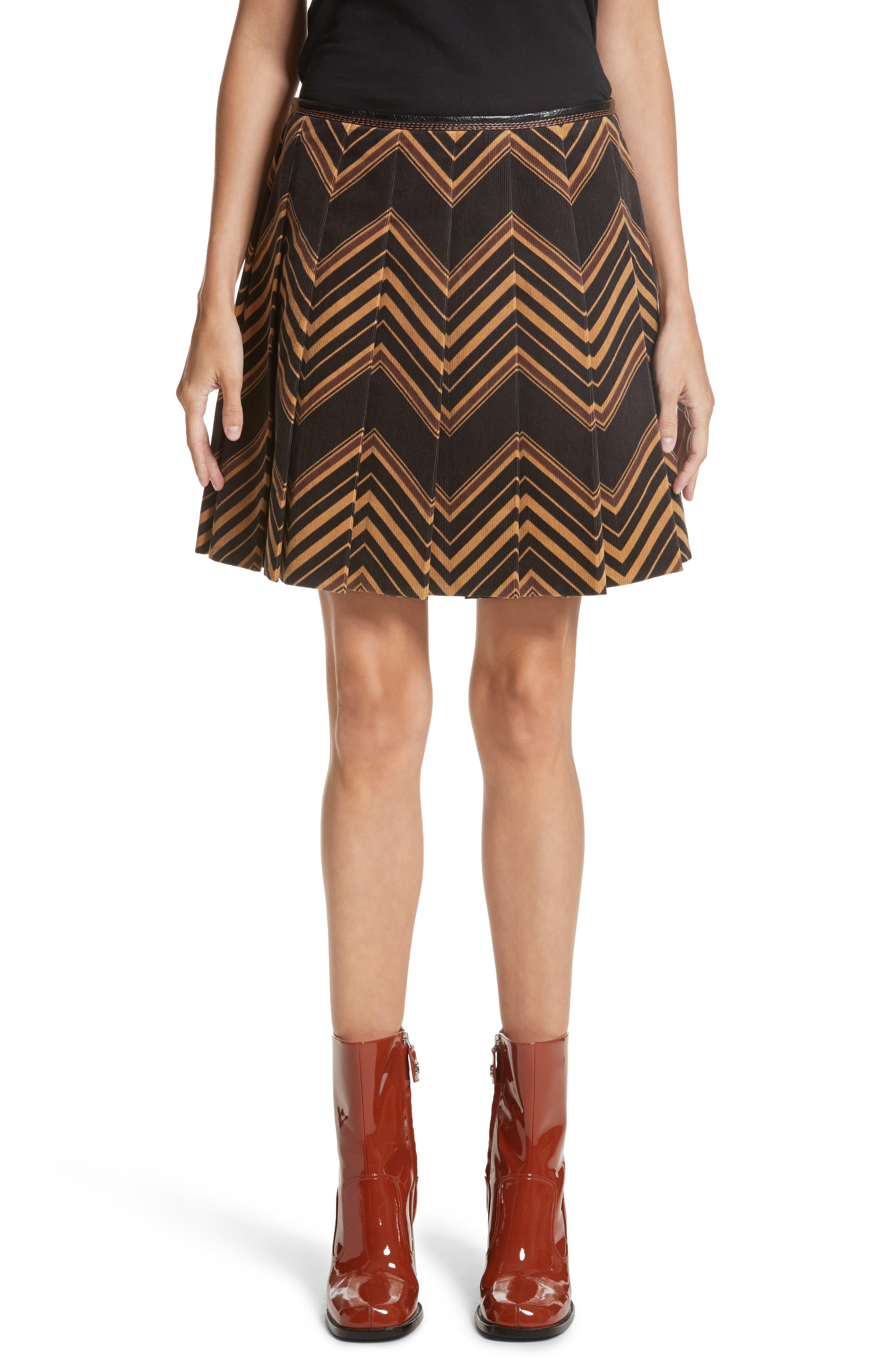 MARC JACOBS Chevron Pleated Corduroy Skirt