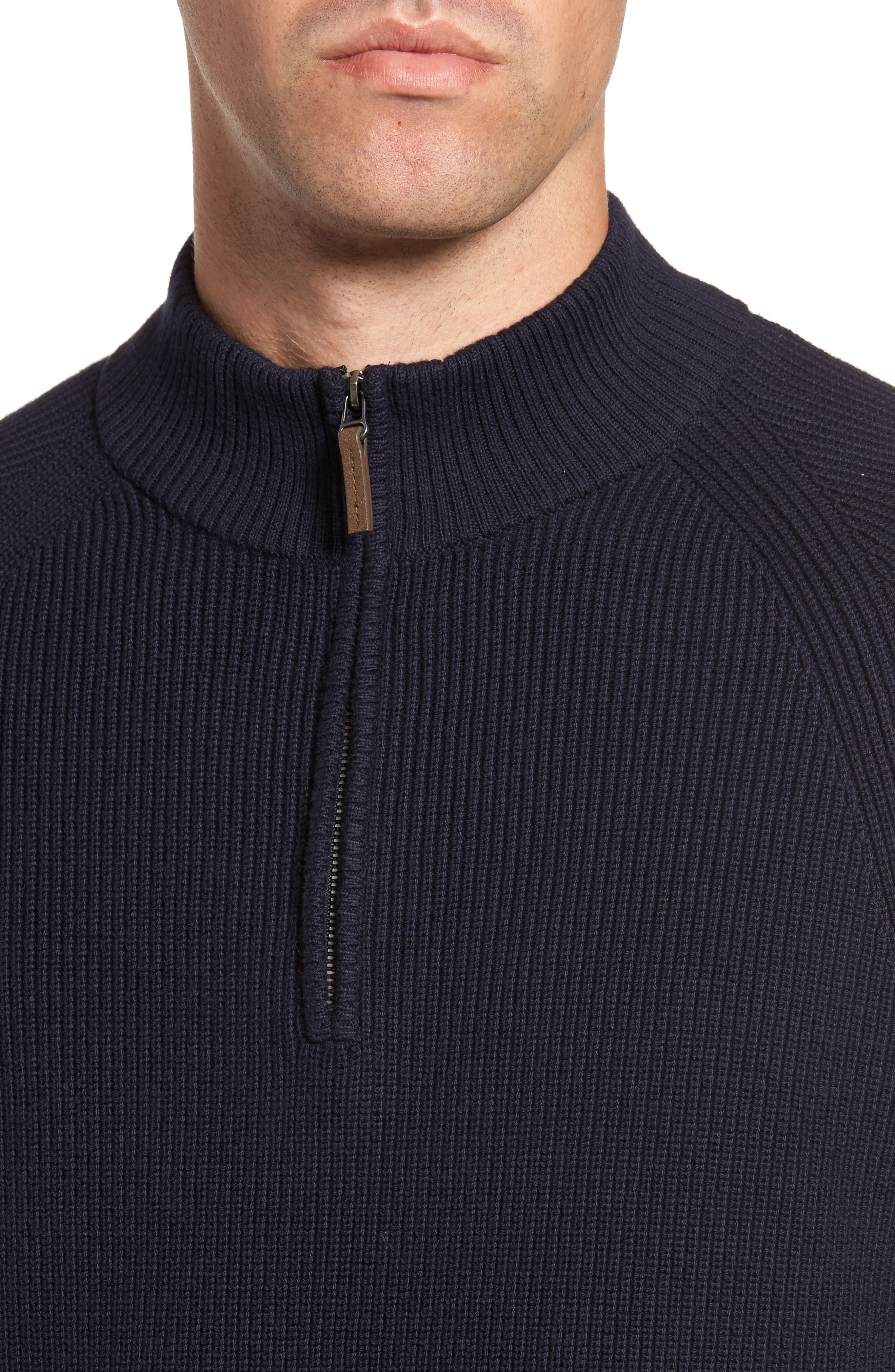 Ribbed Quarter Zip Sweater,                             Alternate thumbnail 4, color,                             Navy Night