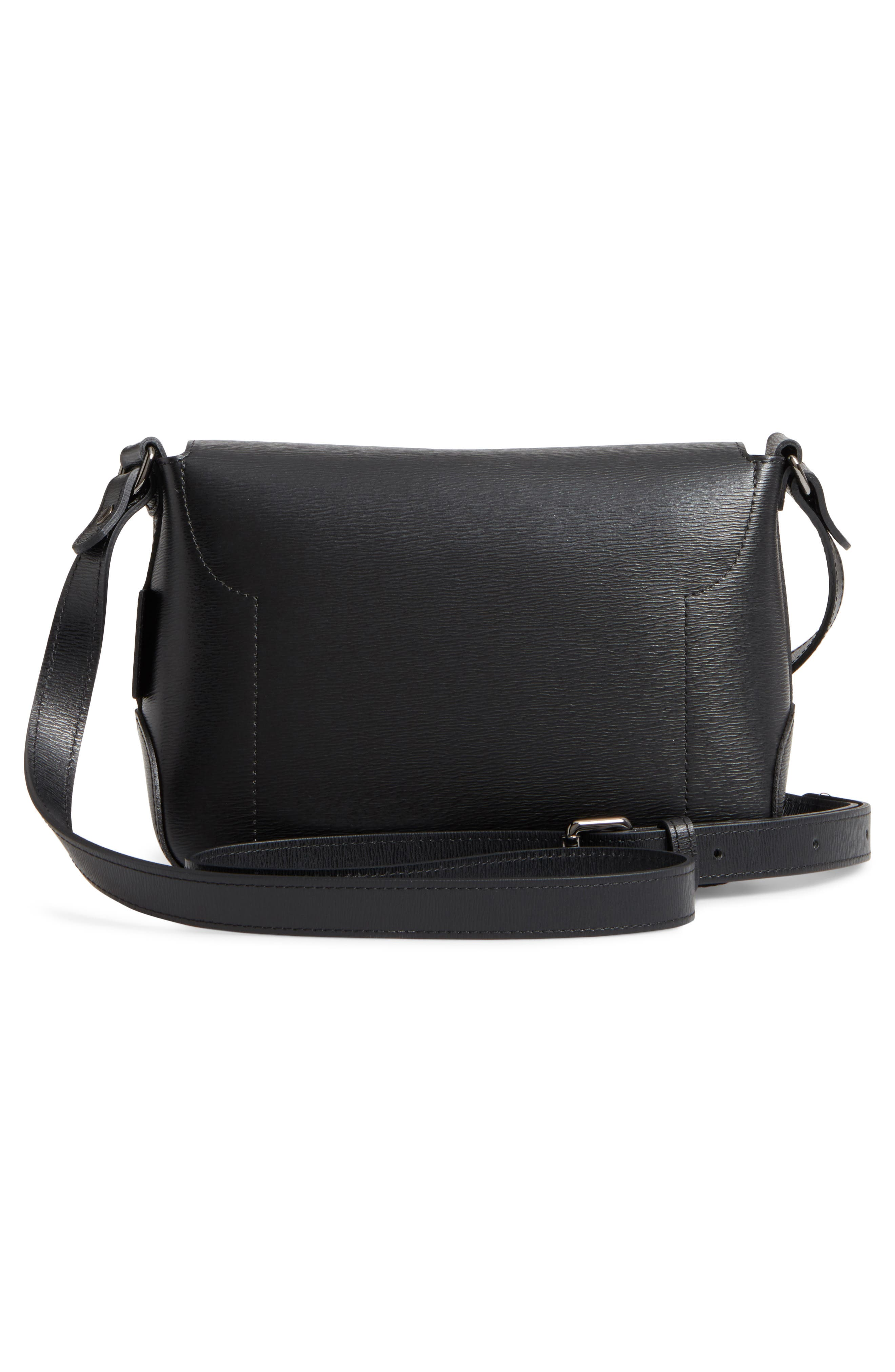 Roseau Leather Crossbody Bag,                             Alternate thumbnail 3, color,                             Black