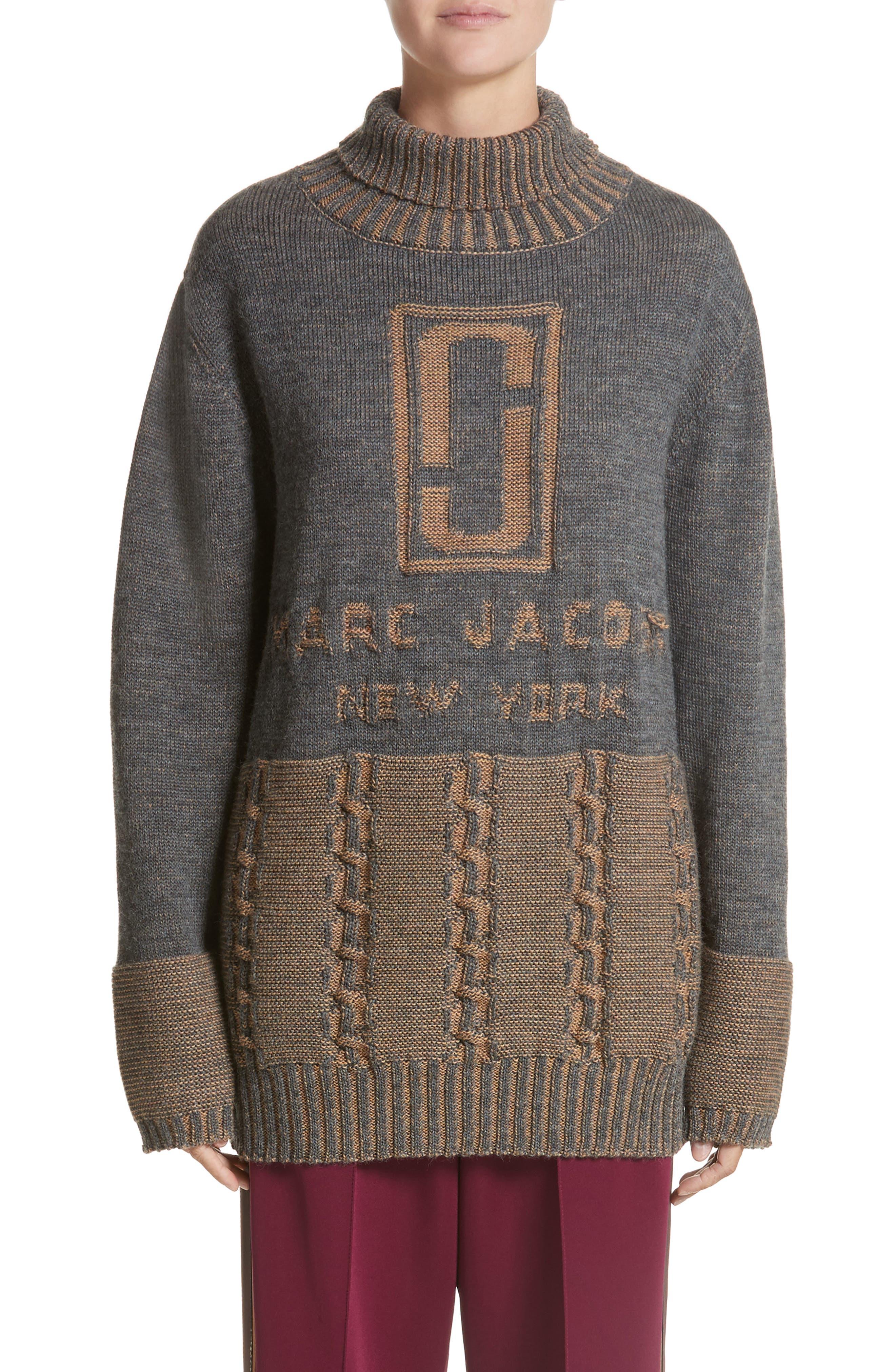 Main Image - MARC JACOBS Logo Knit Oversized Turtleneck Sweater
