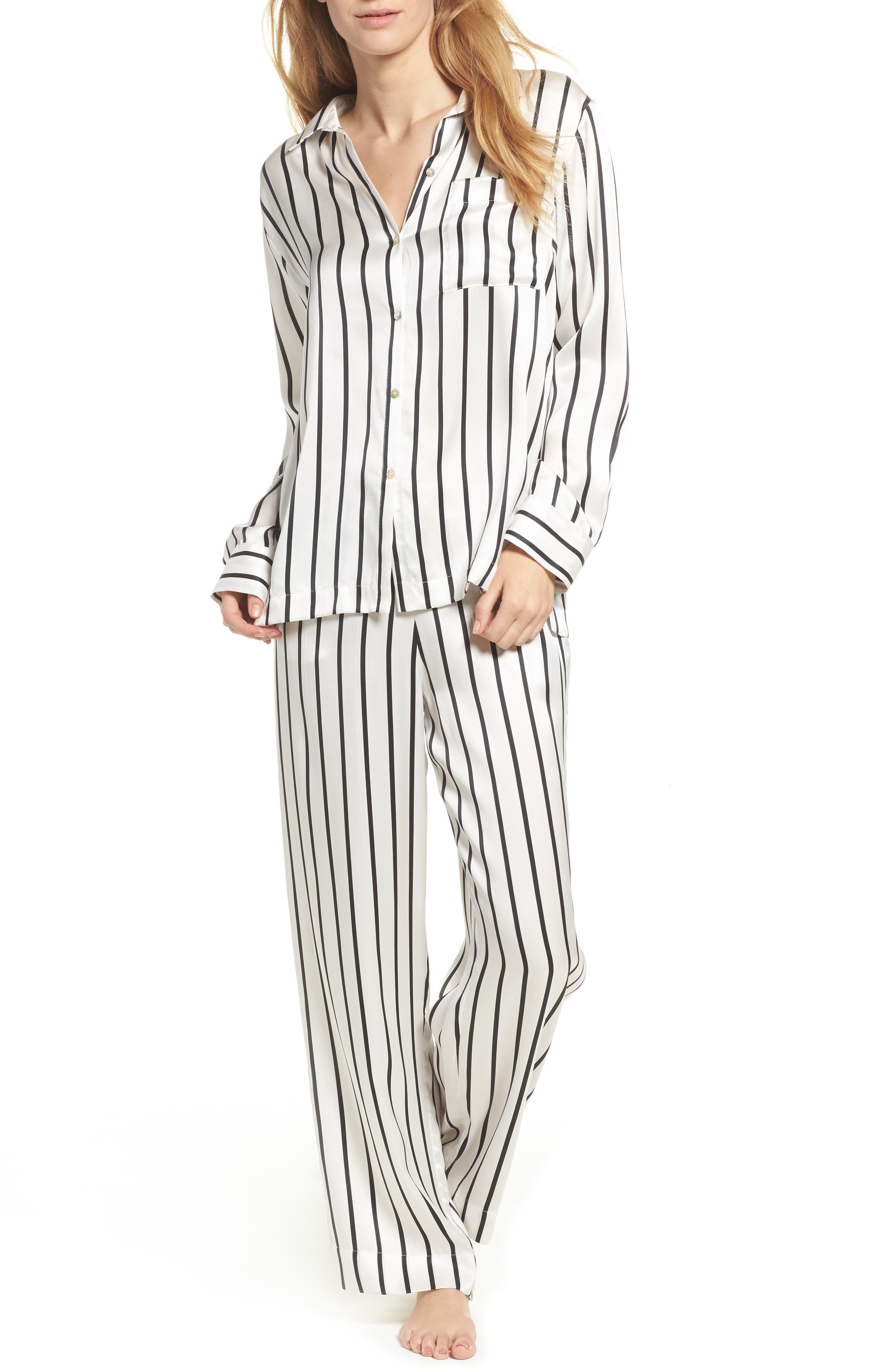 Stripe Silk Pajama Pants,                             Alternate thumbnail 5, color,                             Jet Black Stripe