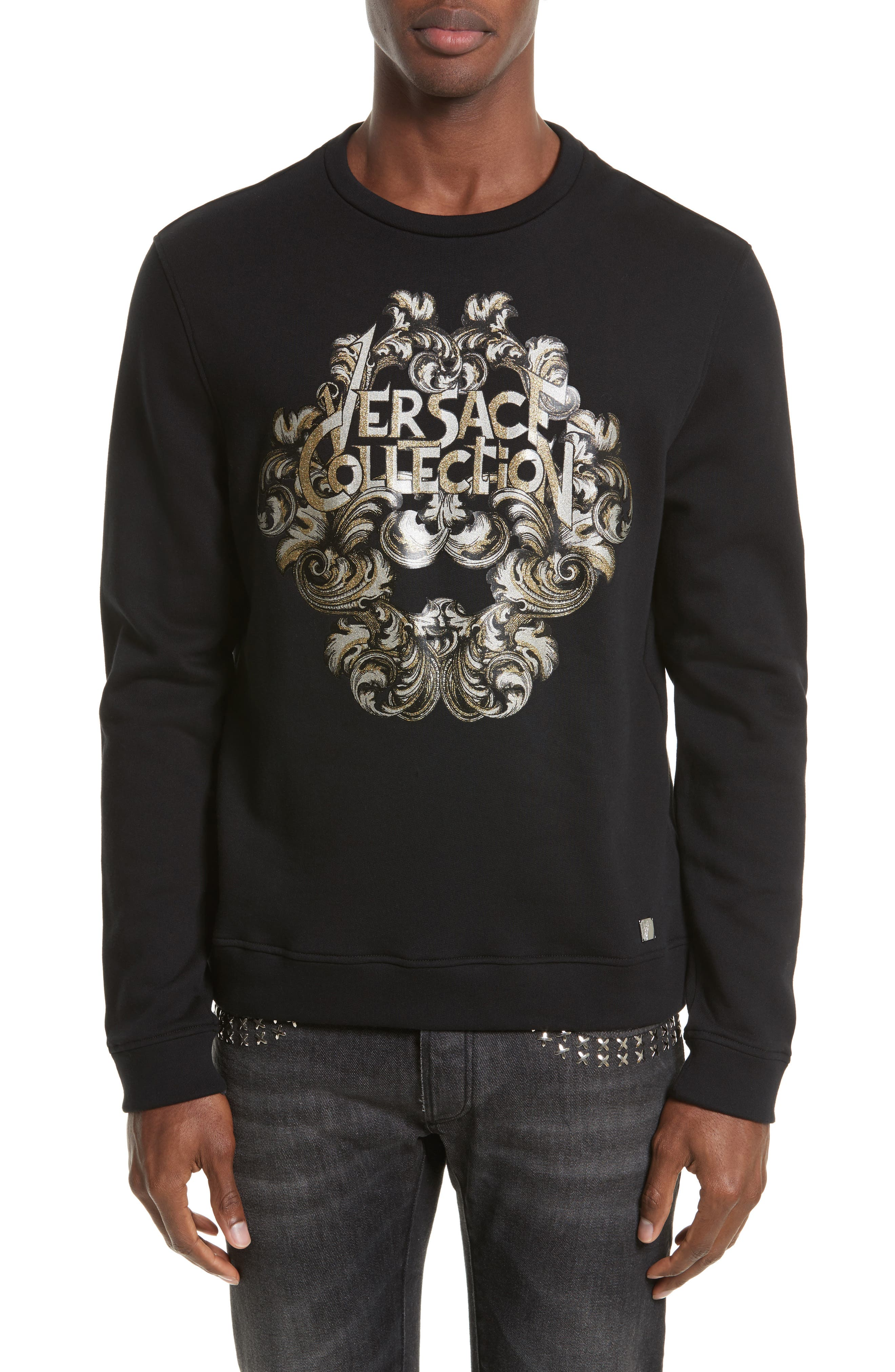 Versace Collection Corinthian Logo Graphic Sweatshirt