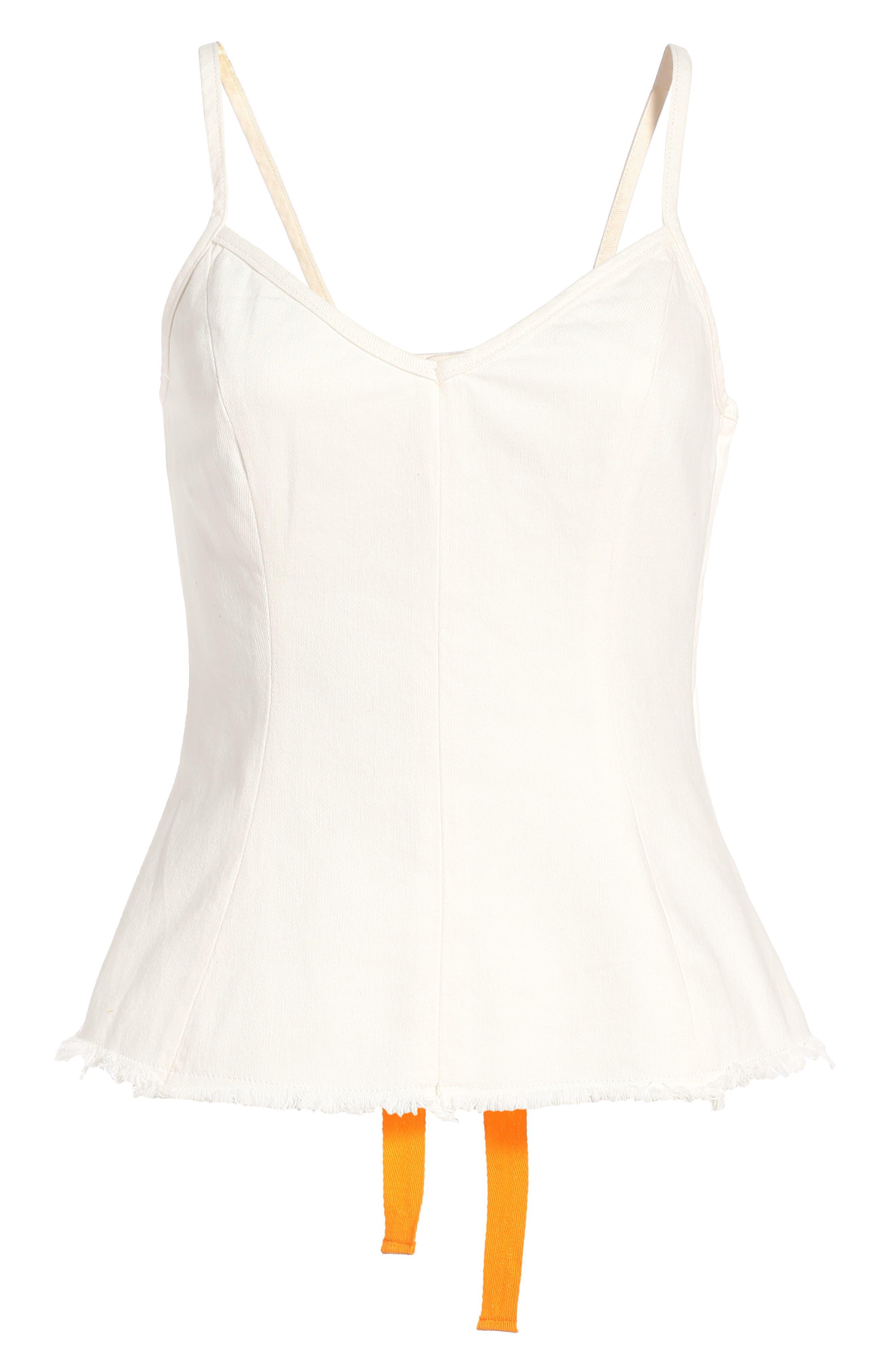 Topshop Boutique Lace-Up Back Denim Camisole