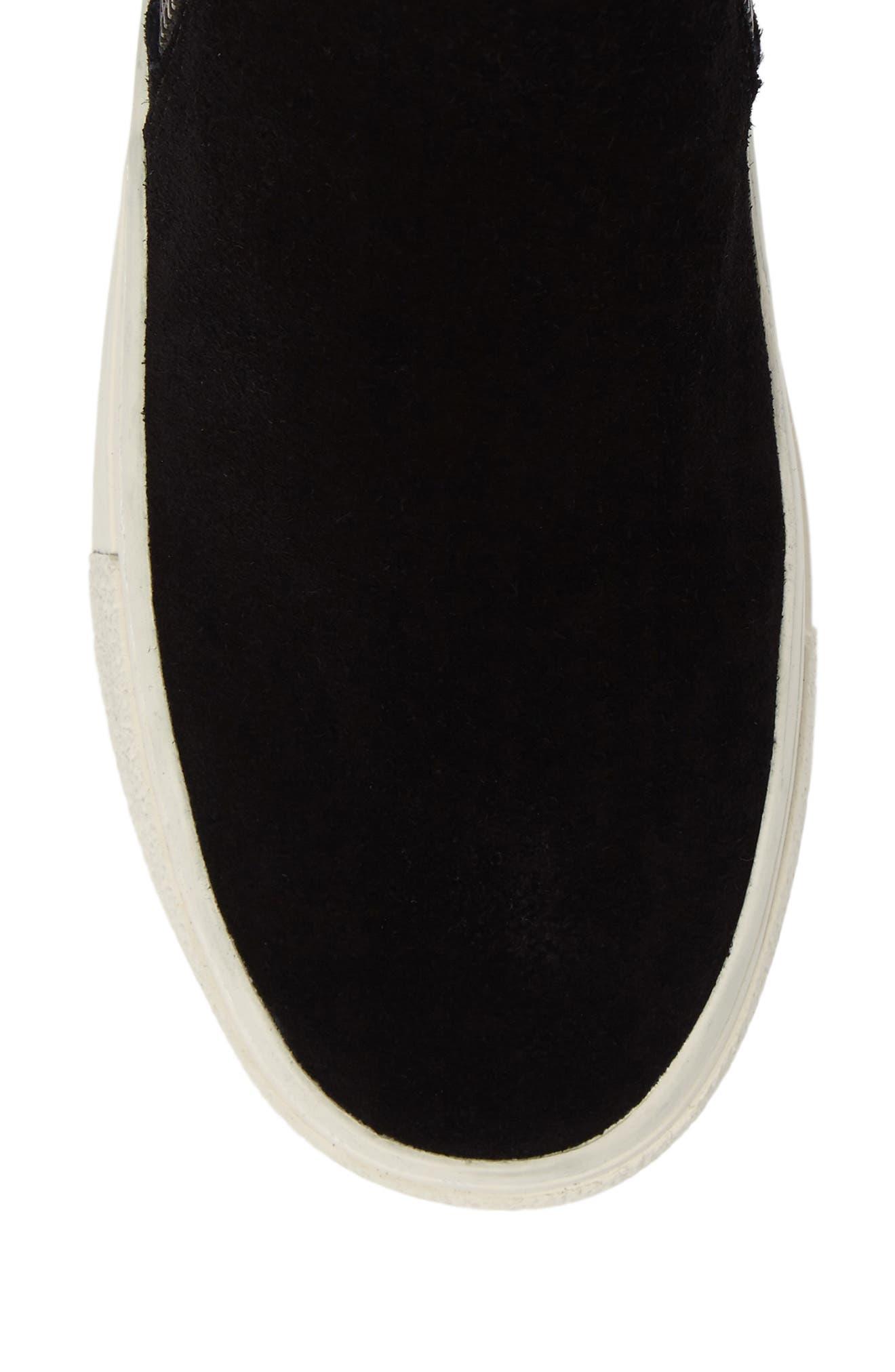 Bayleah High Top Sneaker,                             Alternate thumbnail 5, color,                             Black Suede