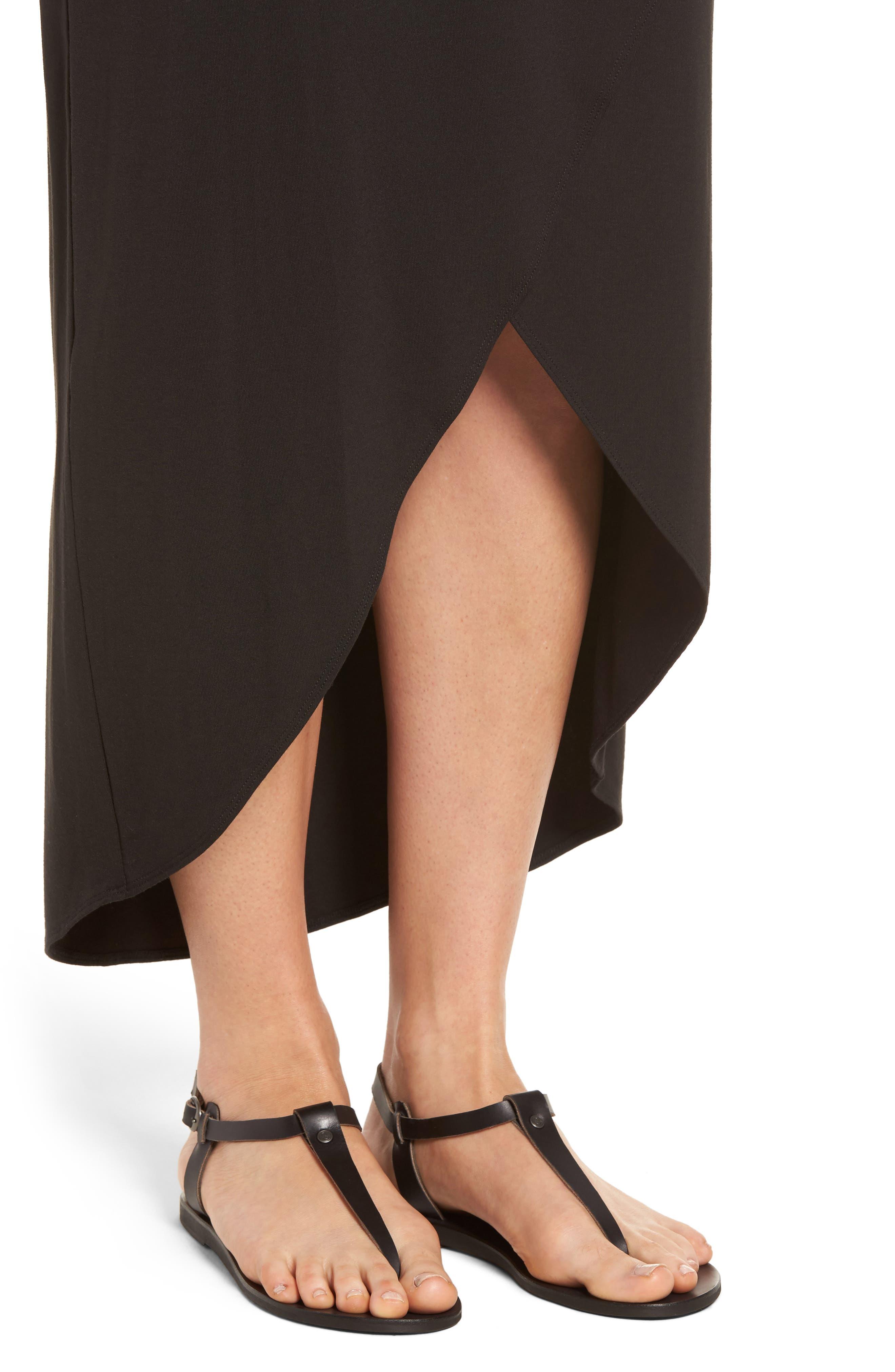 Tambour Maxi Dress,                             Alternate thumbnail 4, color,                             Black