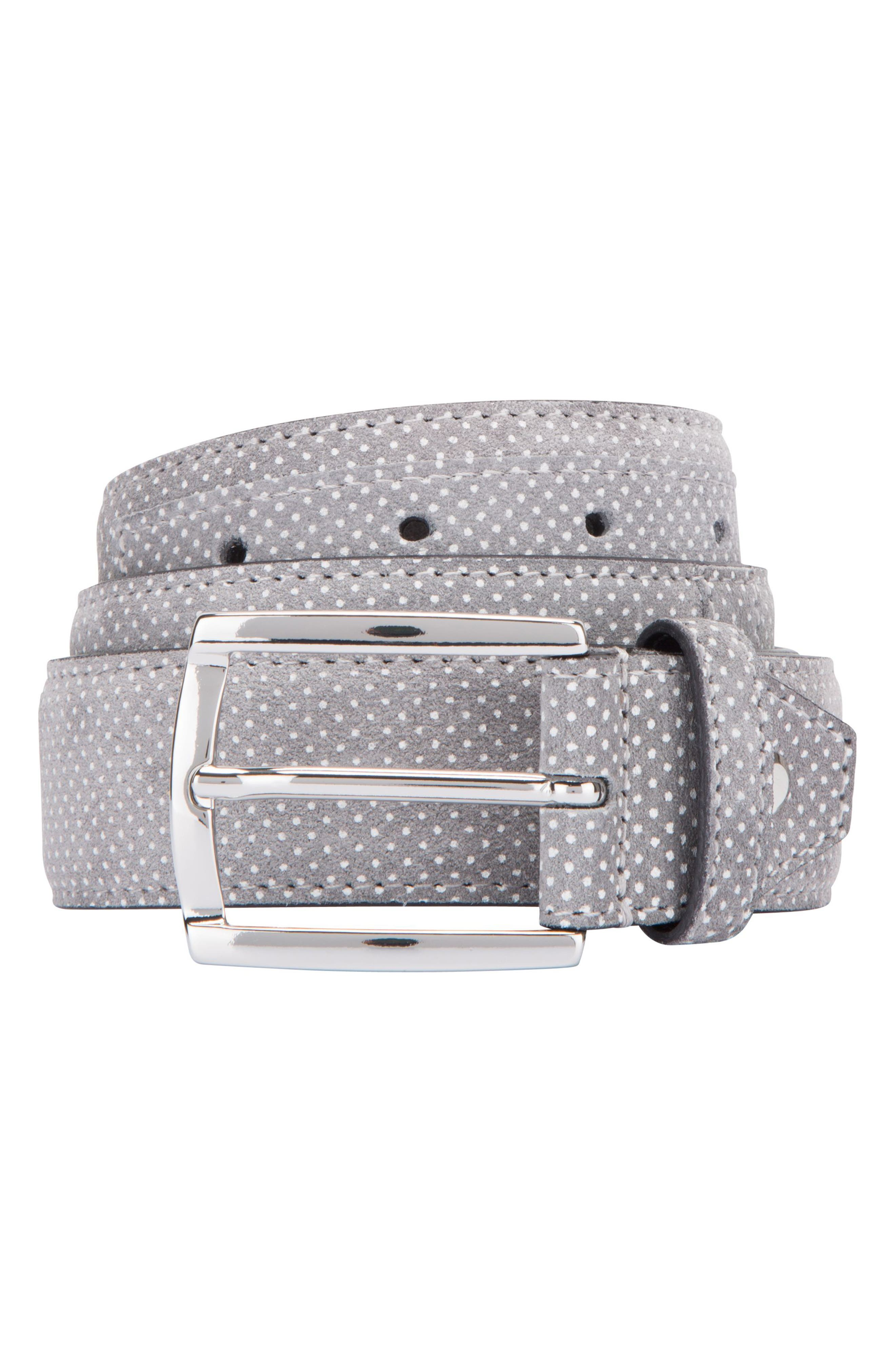 Dot Print Leather Belt,                         Main,                         color, Grigio