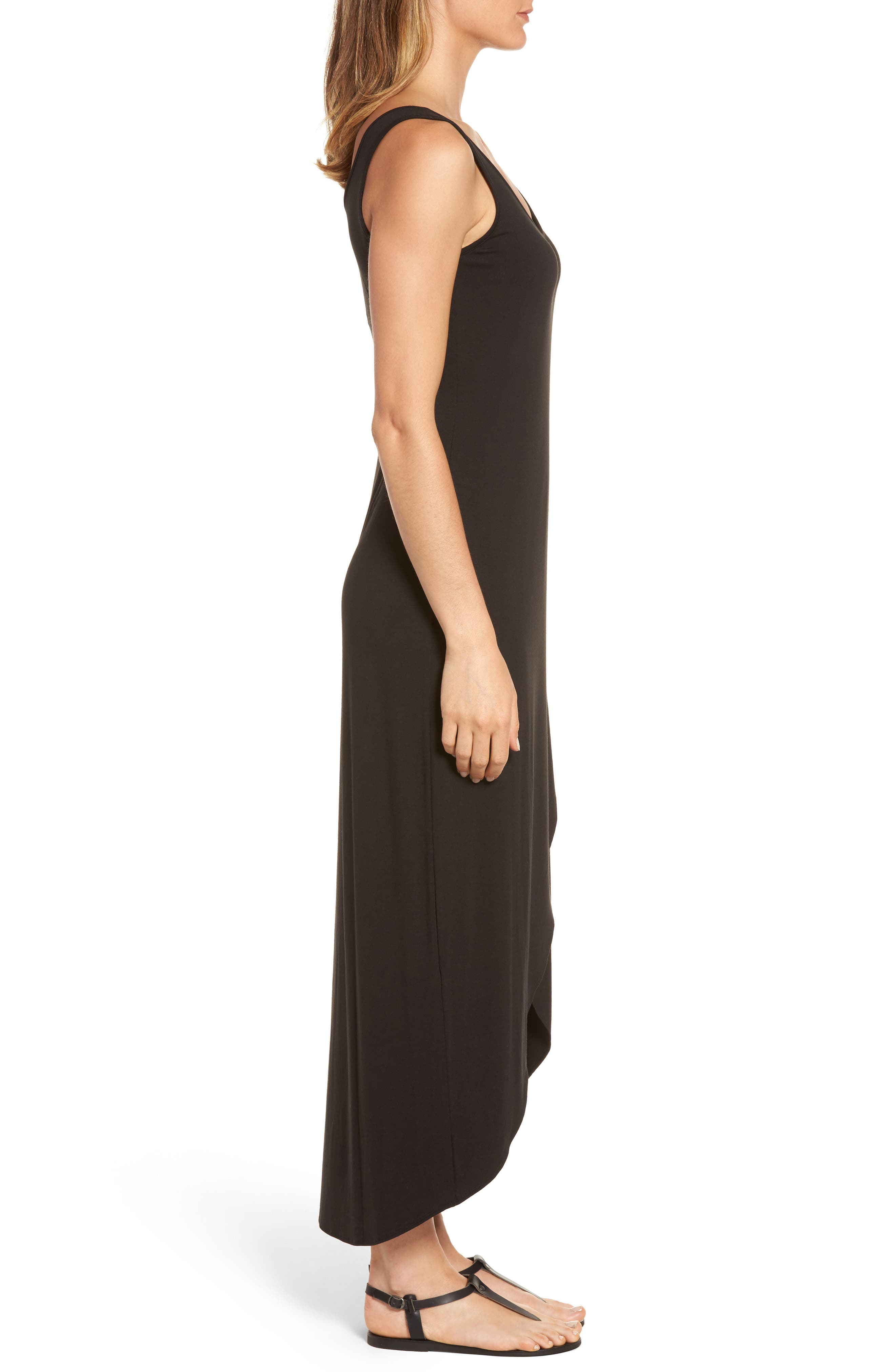 Tambour Maxi Dress,                             Alternate thumbnail 3, color,                             Black