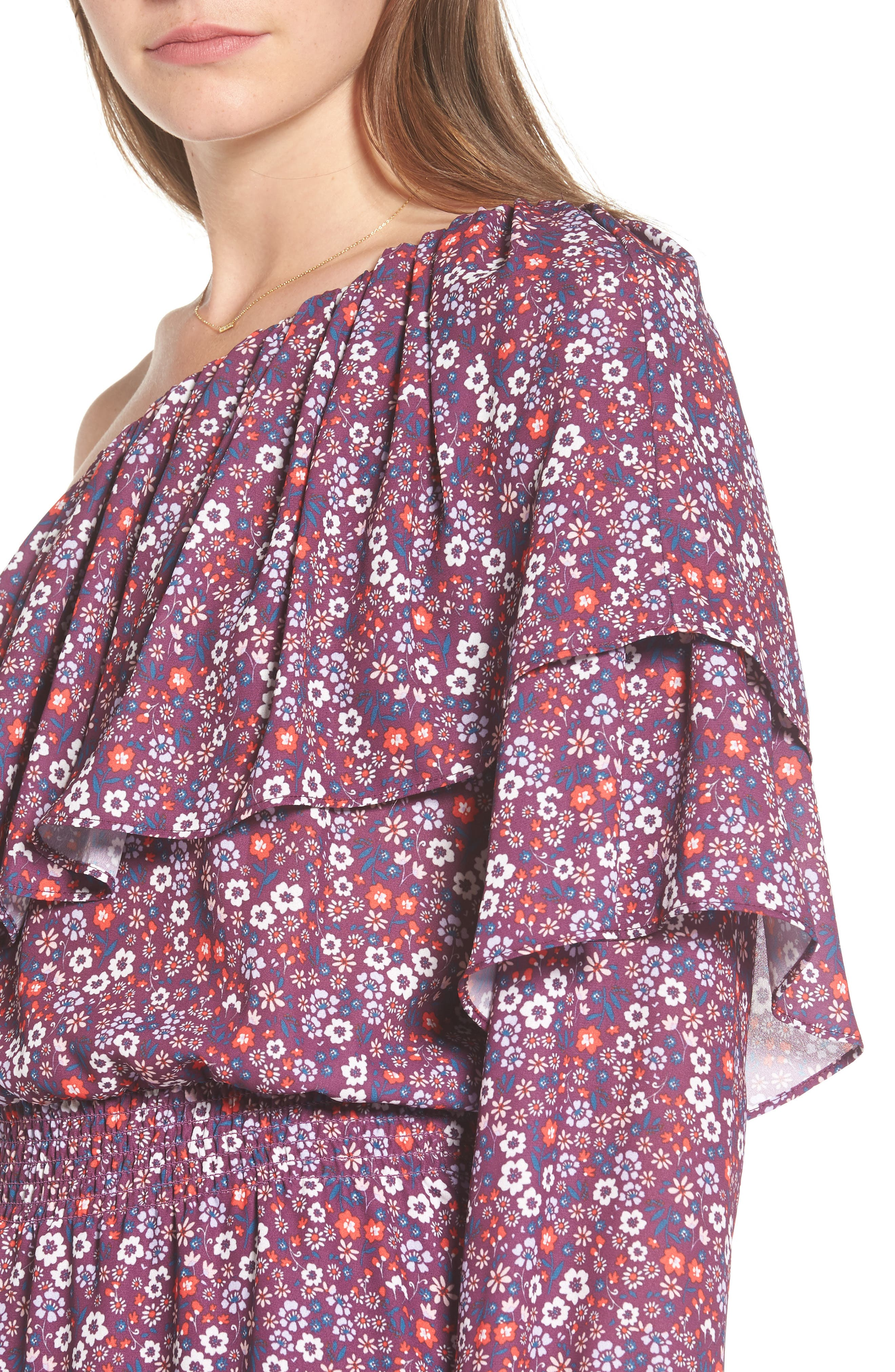 Alternate Image 4  - devlin Irina One-Shoulder Blouson Dress