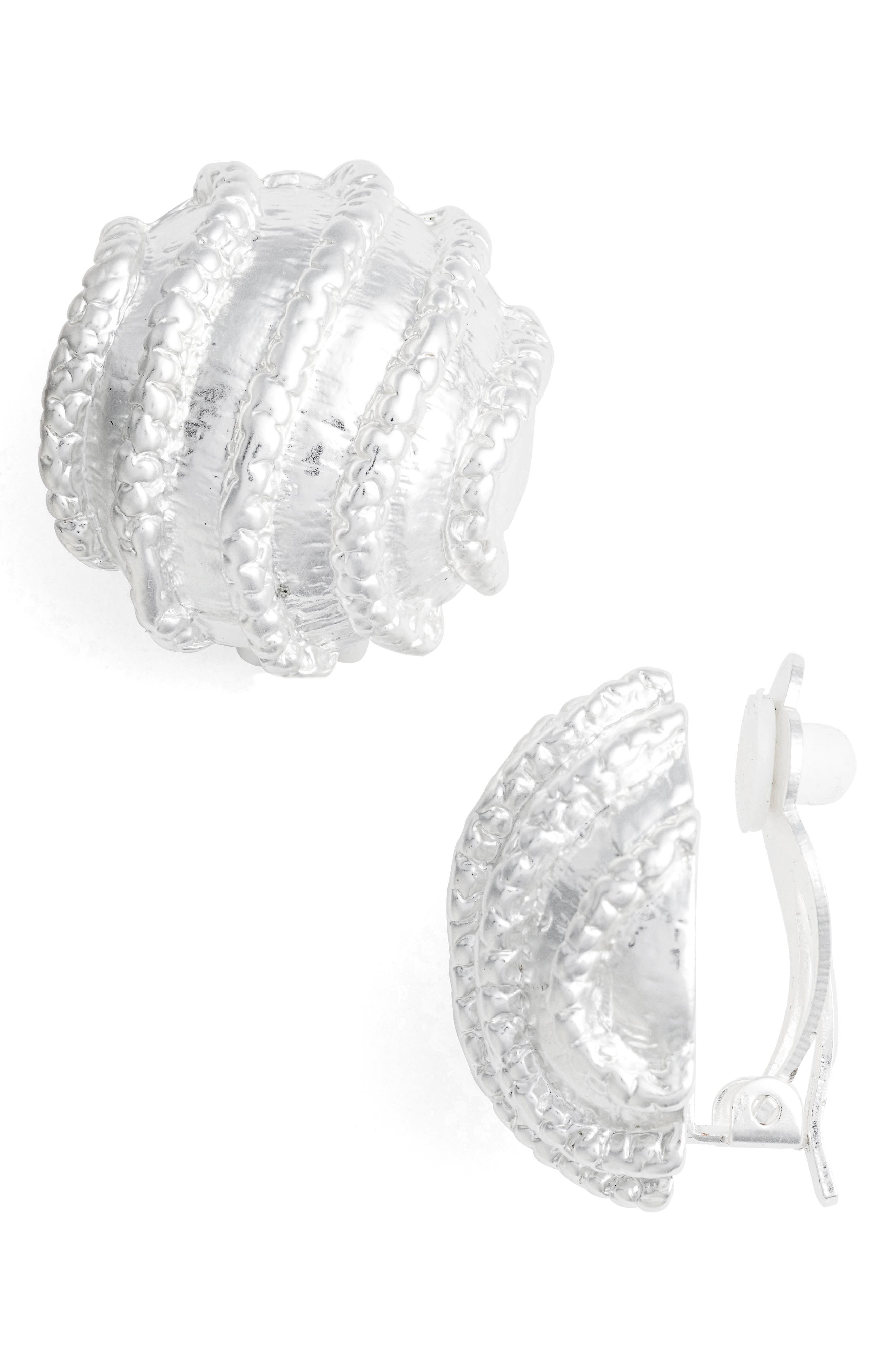Large Clip-On Stud Earings,                         Main,                         color, Silver