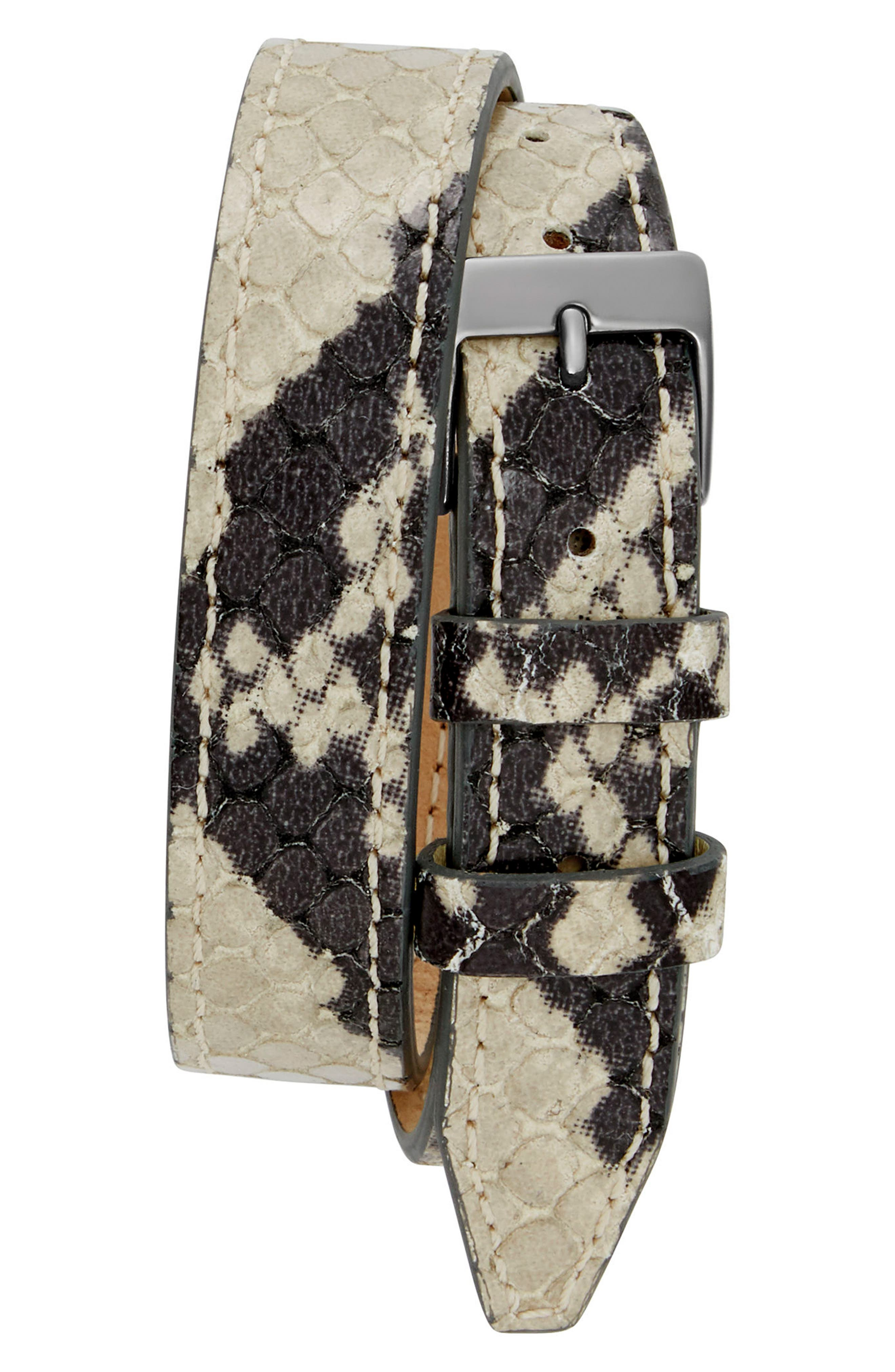 Moment Wrap Leather Strap Watch, 19mm x 30mm,                             Alternate thumbnail 2, color,                             Python/ Silver/ Gunmetal