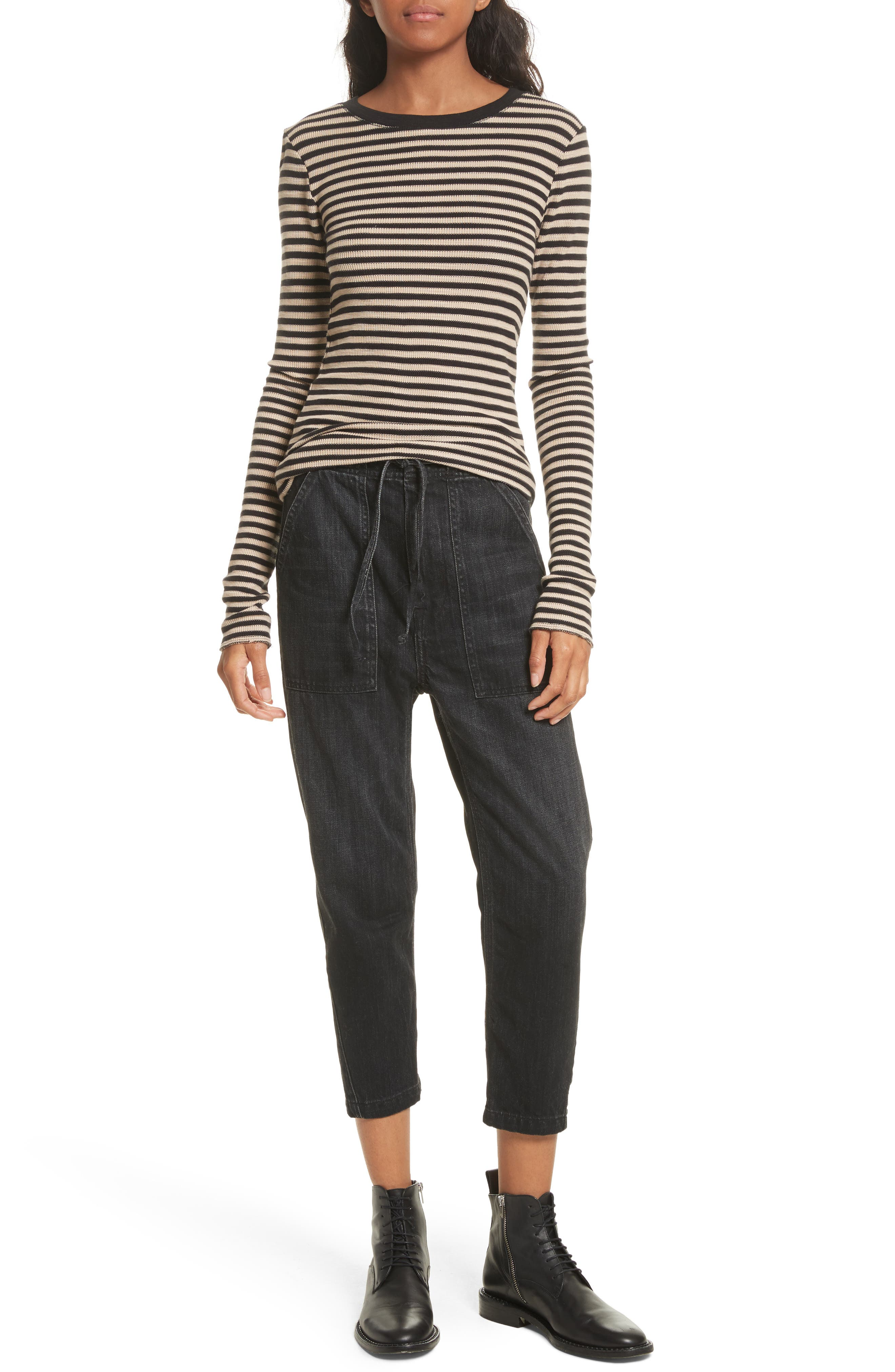 Railroad Stripe Crewneck Sweater,                             Alternate thumbnail 3, color,                             Taupe/ Black
