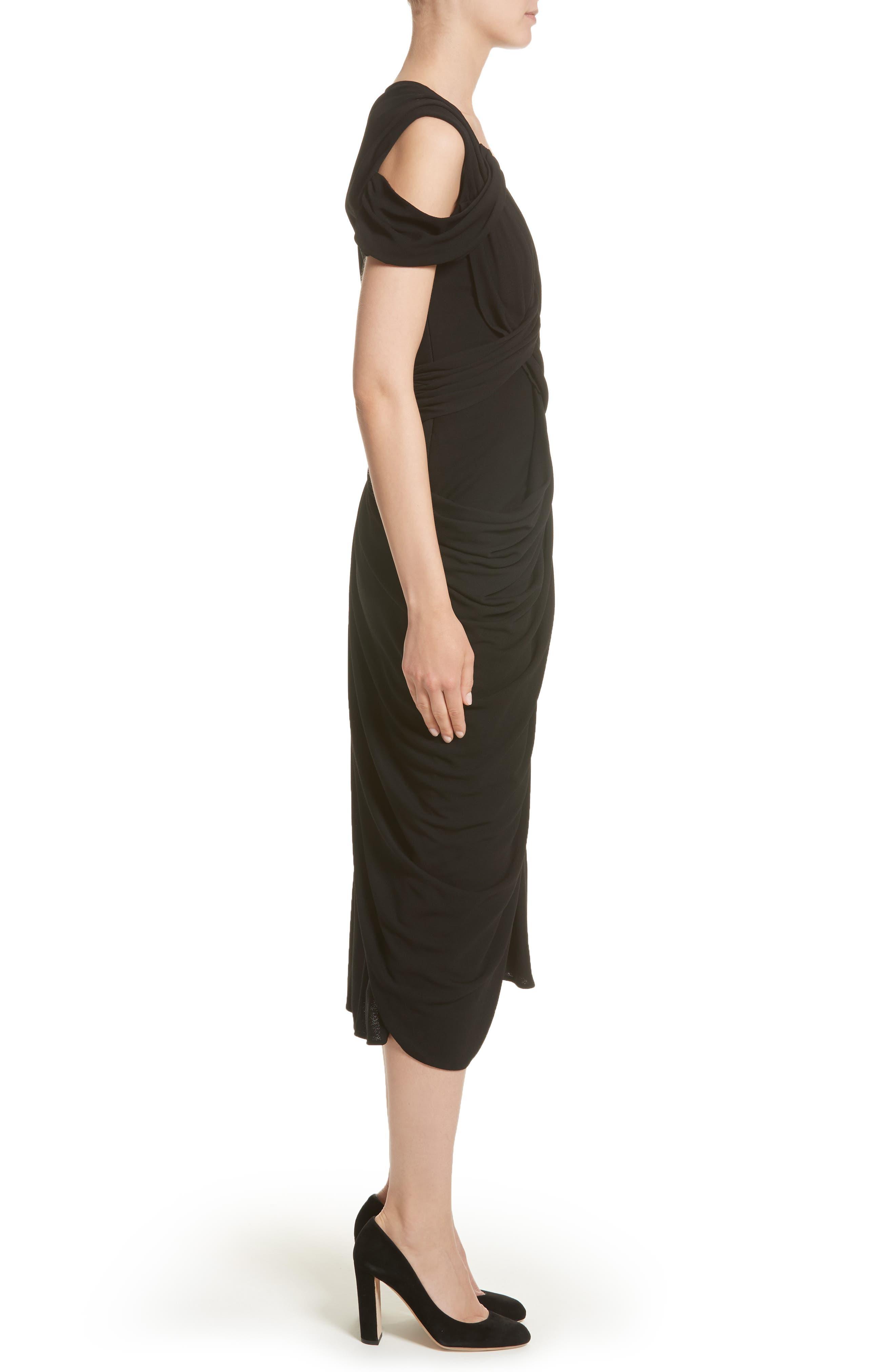 Draped Jersey Cocktail Dress,                             Alternate thumbnail 3, color,                             Black