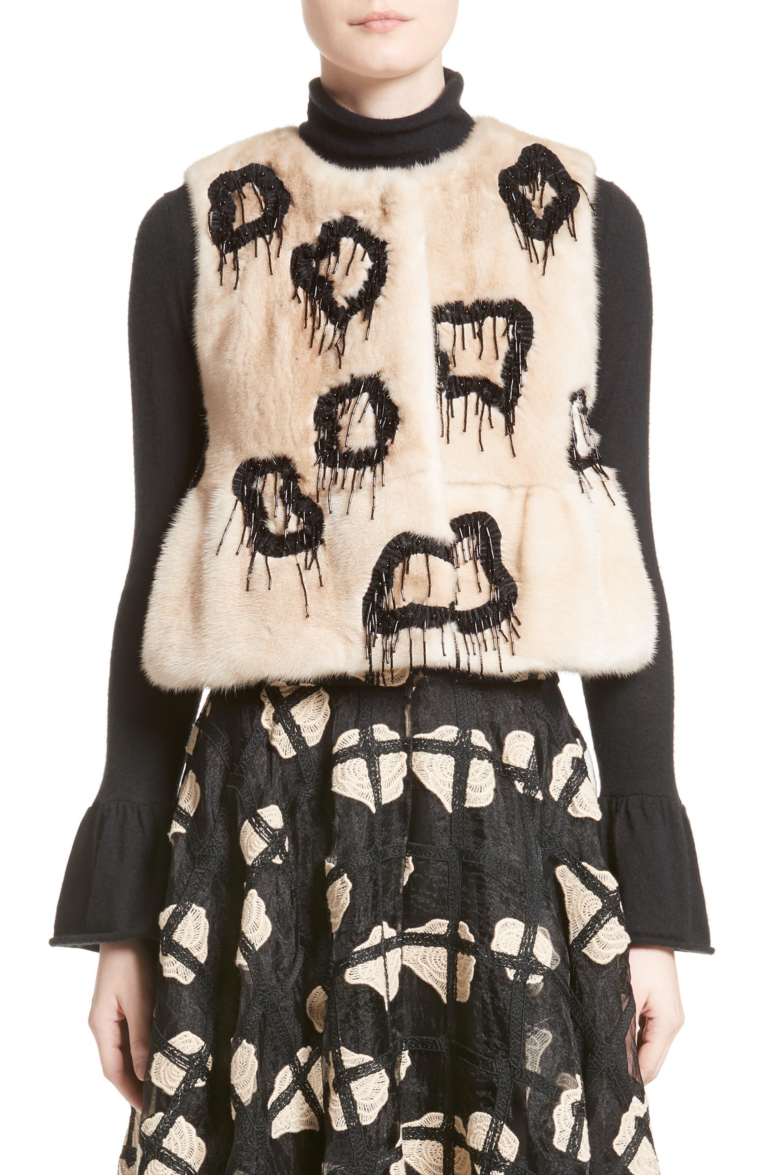 Beaded Genuine Mink Fur Peplum Vest,                         Main,                         color, Beige